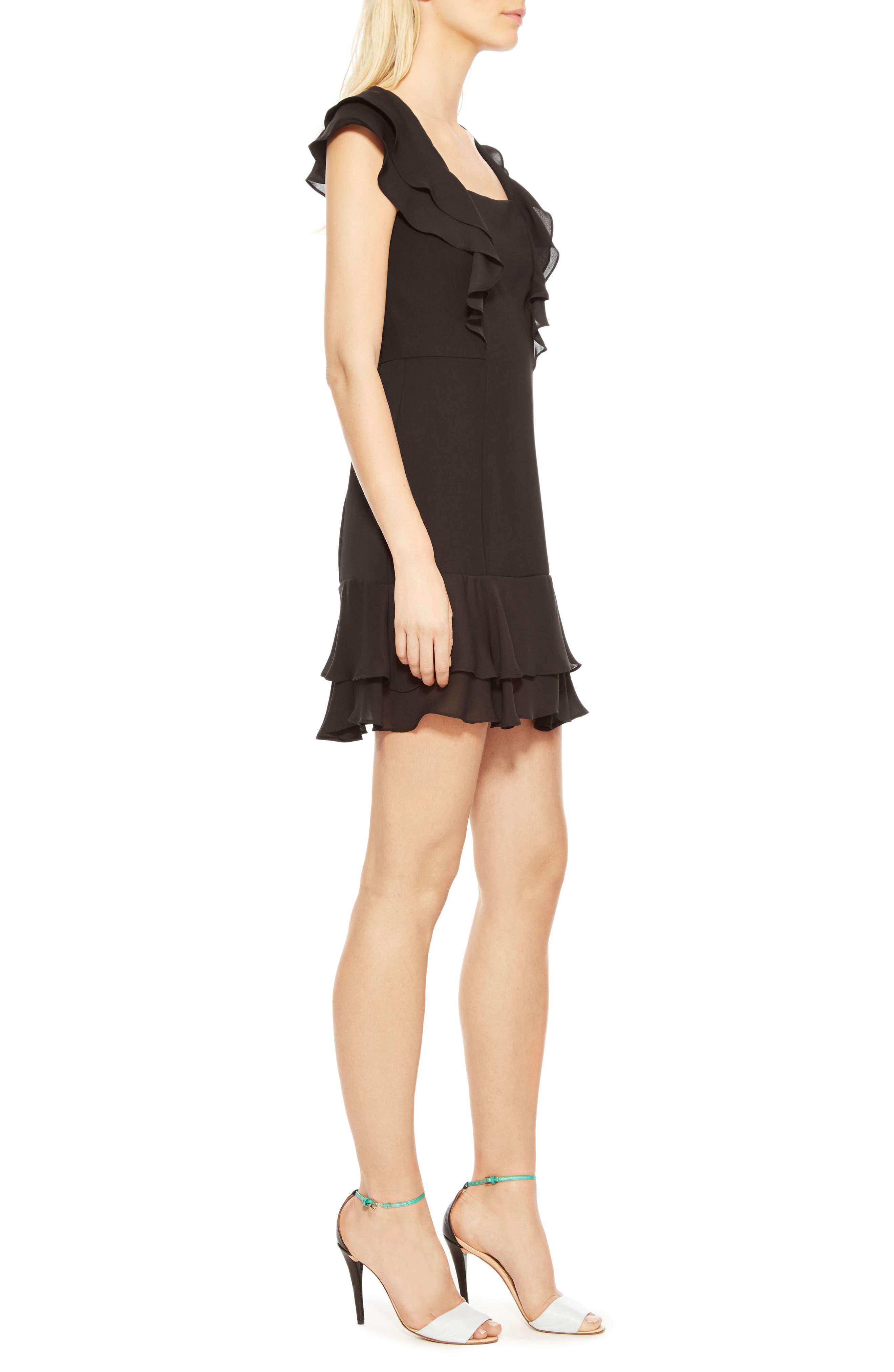 Berlin Ruffle Dress,                             Alternate thumbnail 3, color,                             Black