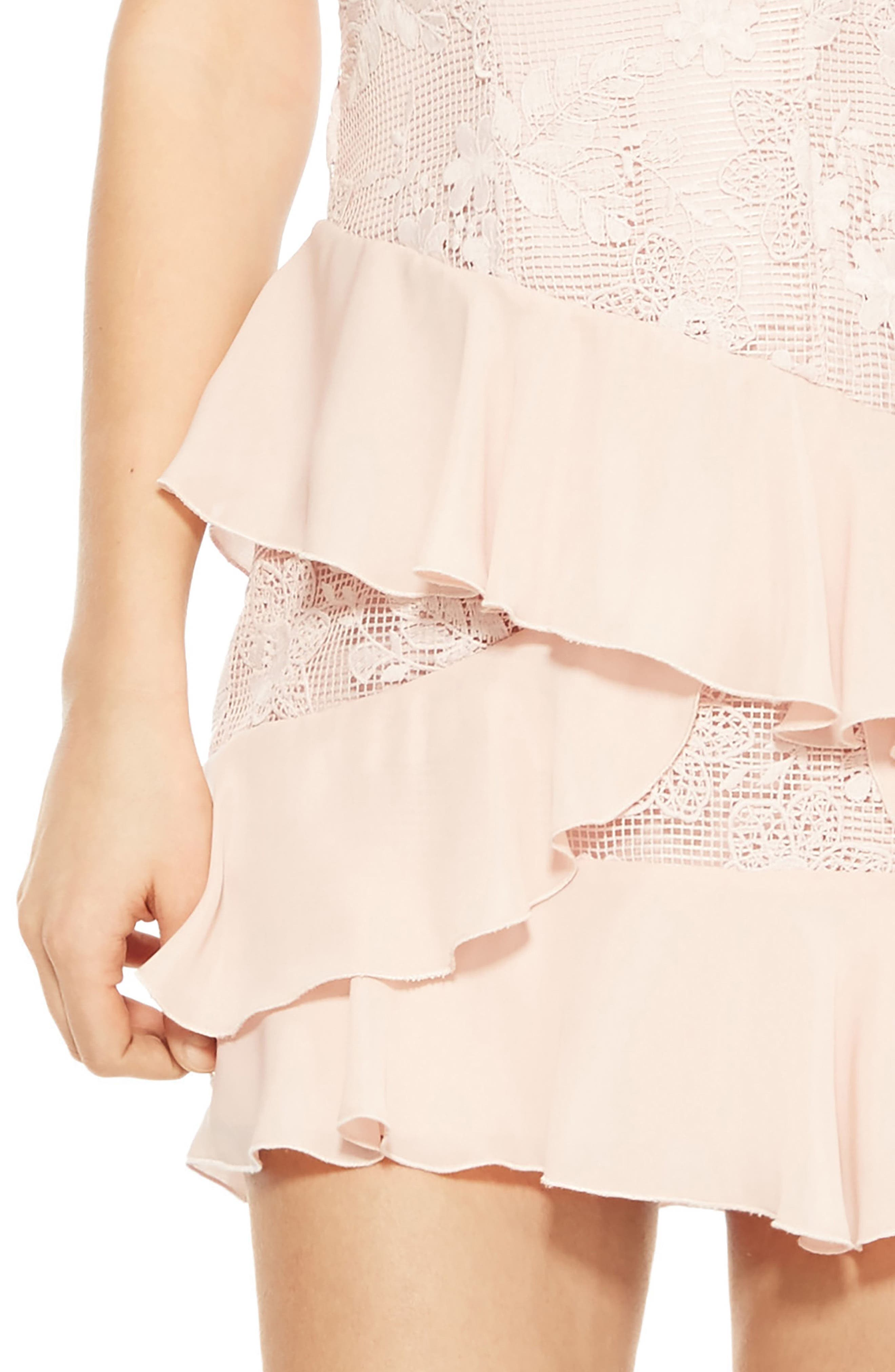 Gabriel Lace Ruffle Dress,                             Alternate thumbnail 5, color,                             Pearl Blush