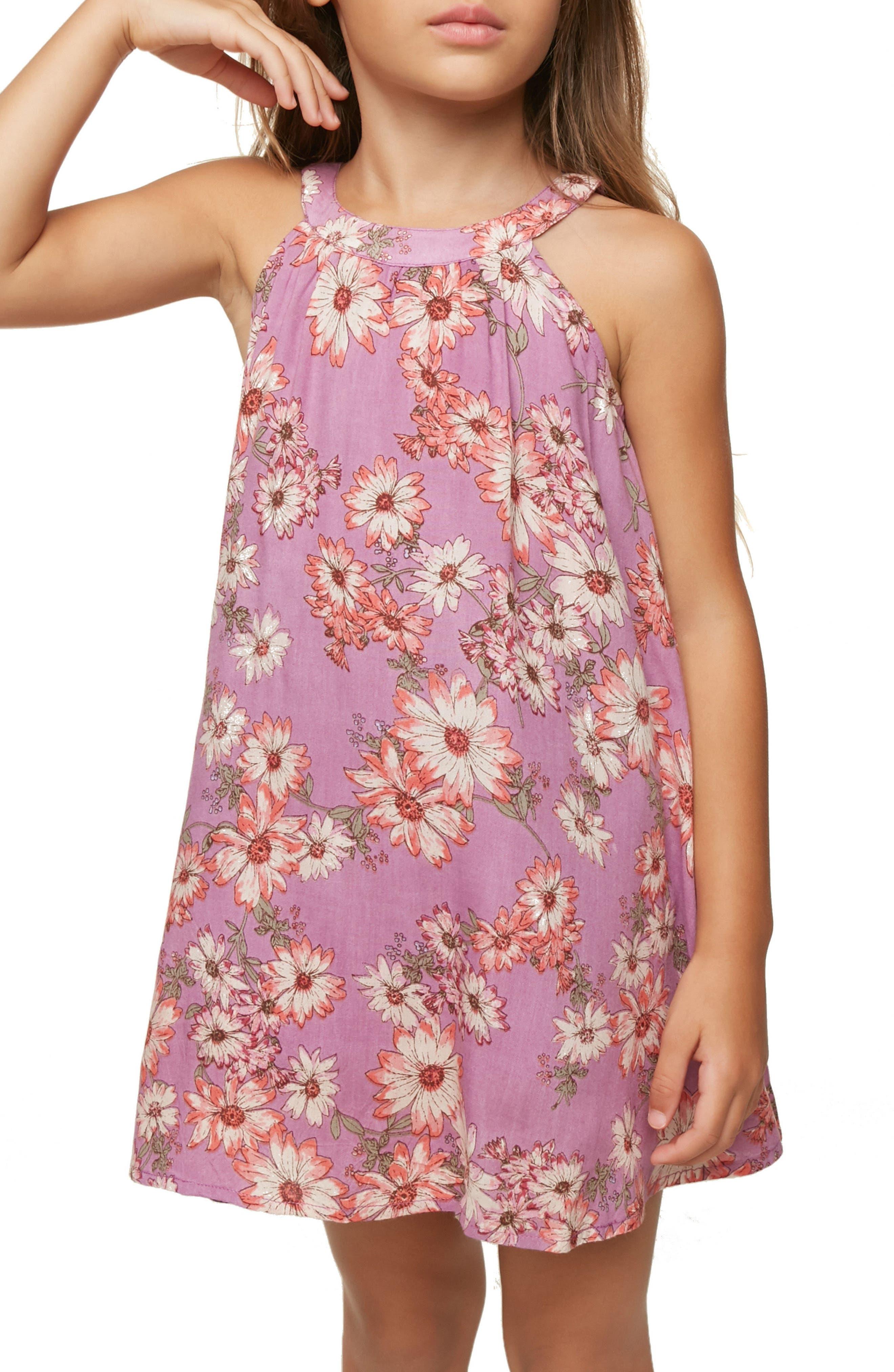 Sallie Floral Dress,                             Alternate thumbnail 4, color,                             Dusty Lavender