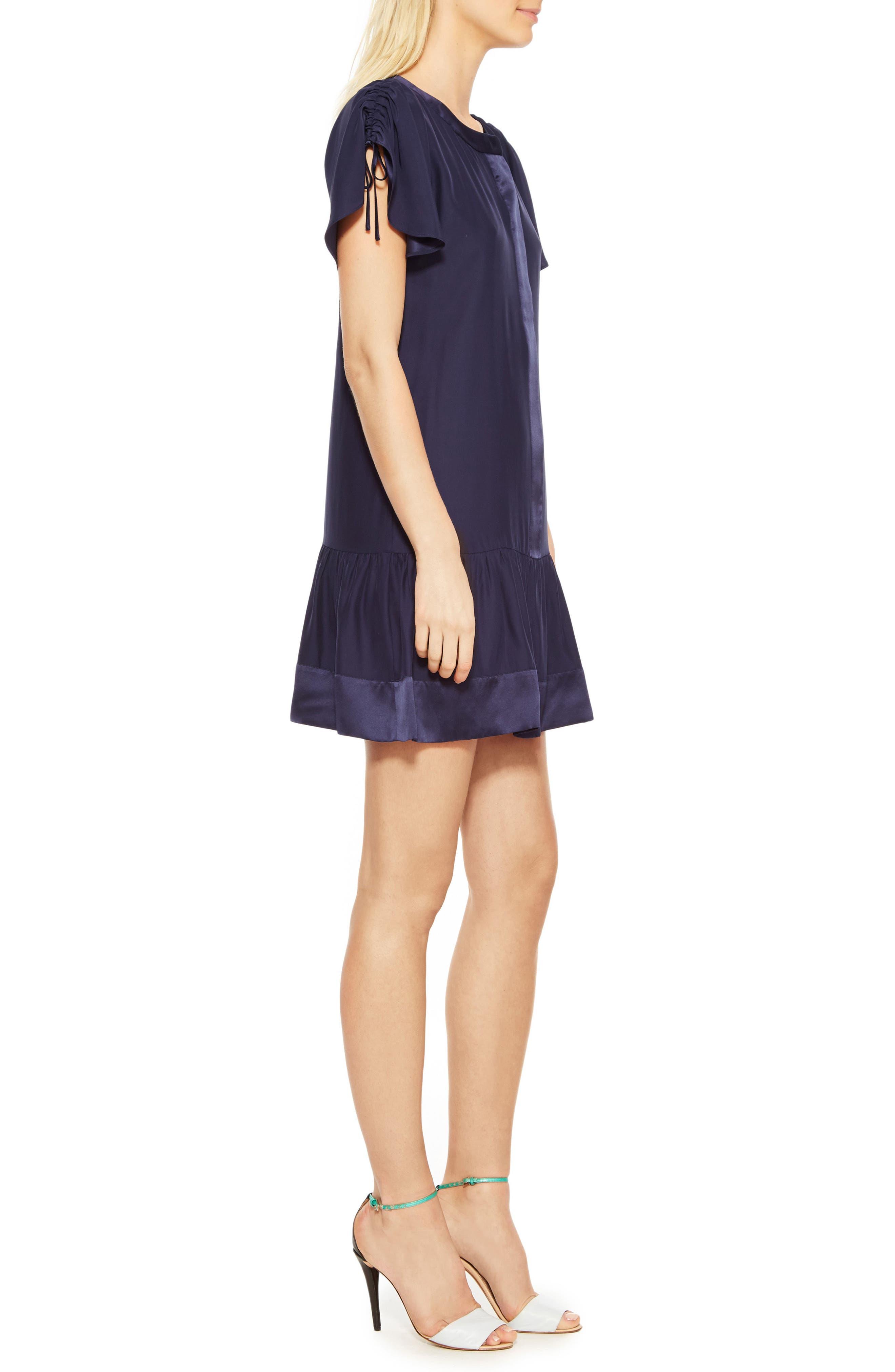 Stacey Silk Dress,                             Alternate thumbnail 3, color,                             Blue Horizon