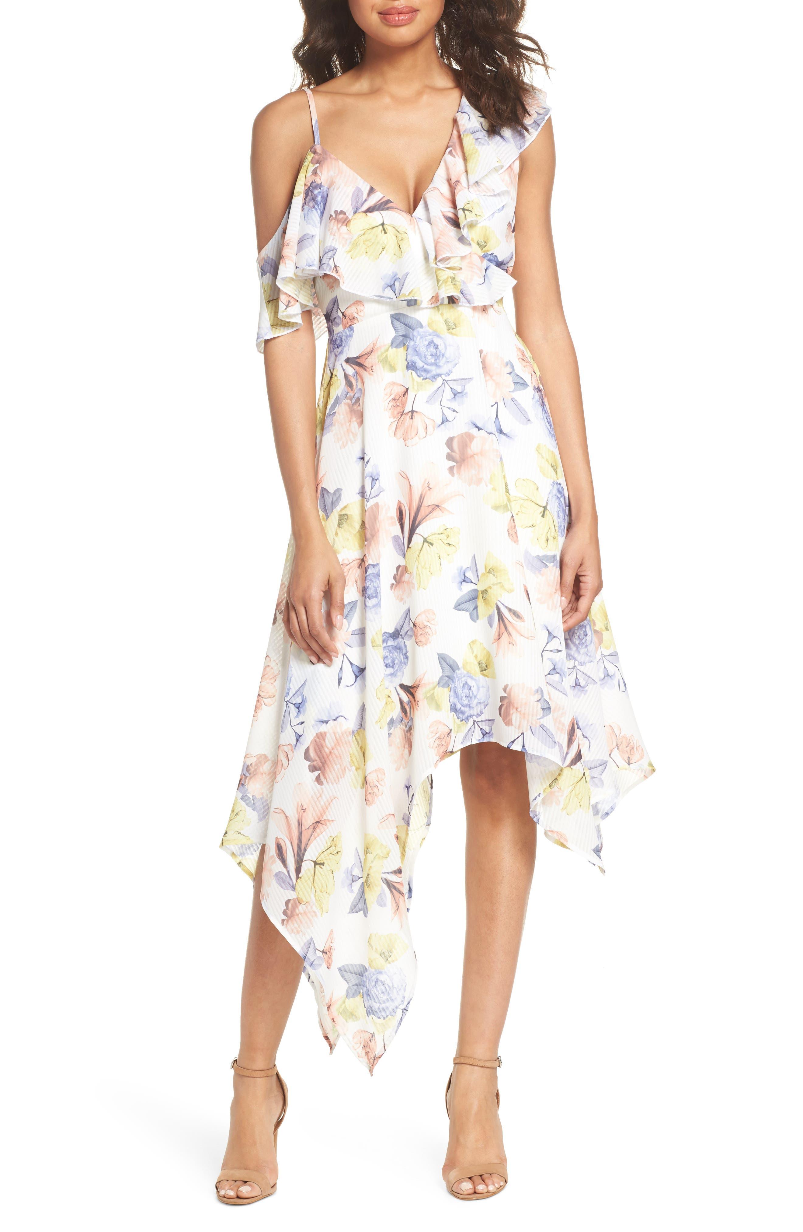 NSR Jenn Asymmetrical Ruffle Midi Dress