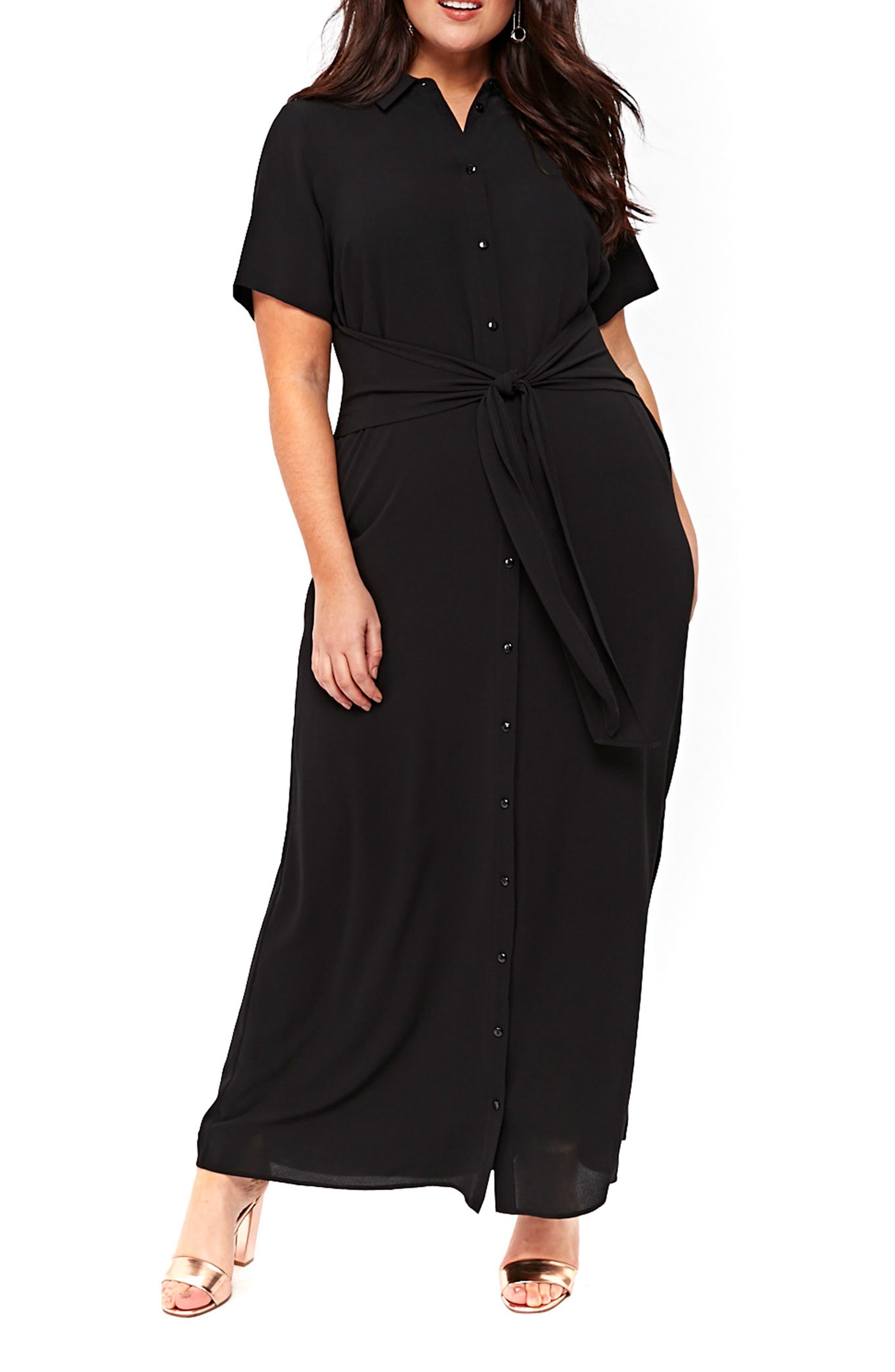 Main Image - Evans Knot Maxi Shirtdress (Plus Size)