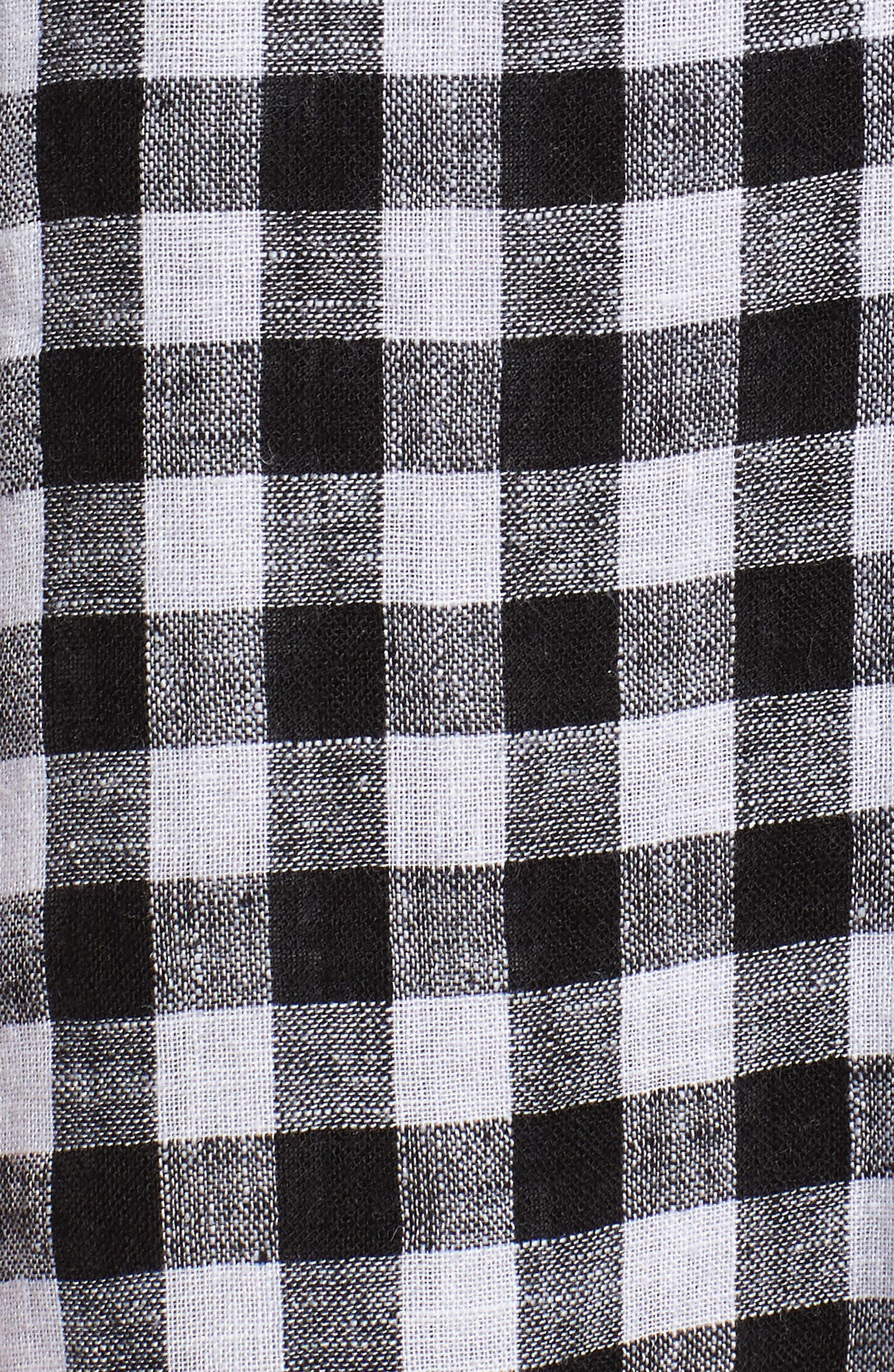 August Gingham Tie Front Dress,                             Alternate thumbnail 5, color,                             Black Gingham