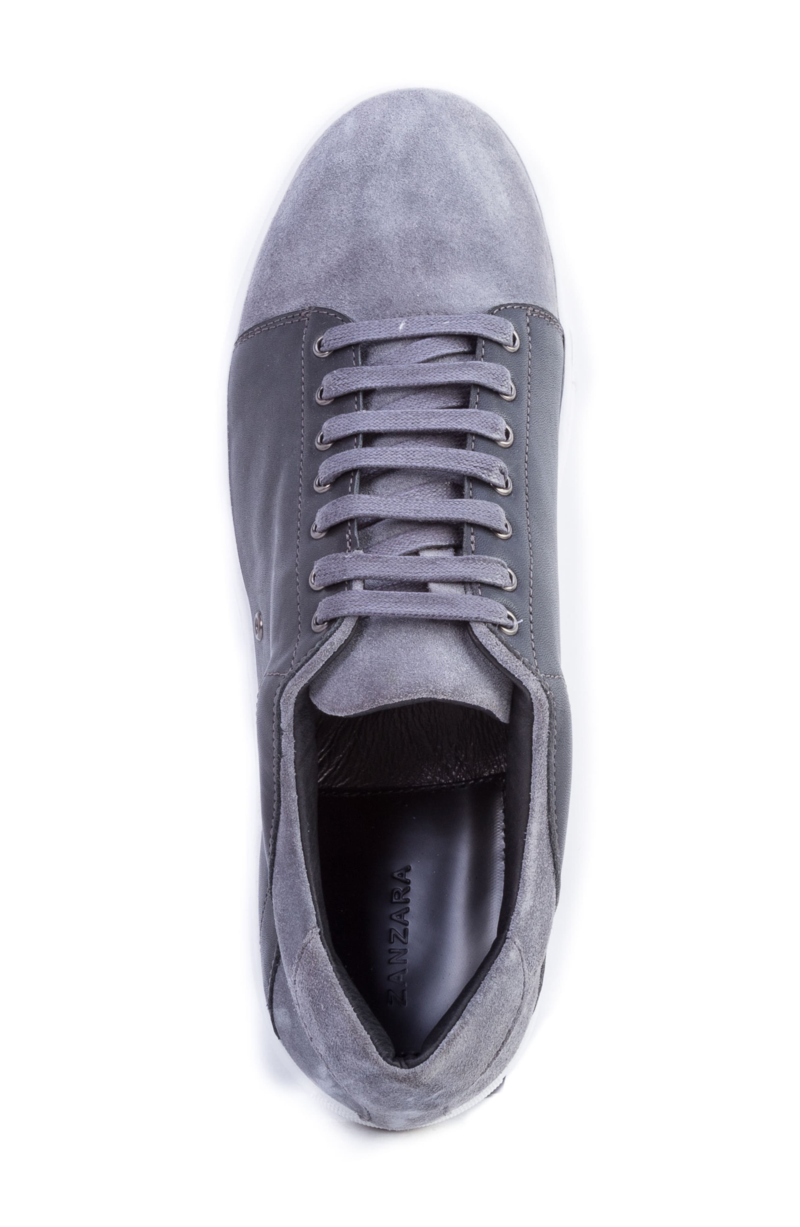 Record Low Top Sneaker,                             Alternate thumbnail 5, color,                             Grey Suede/ Leather