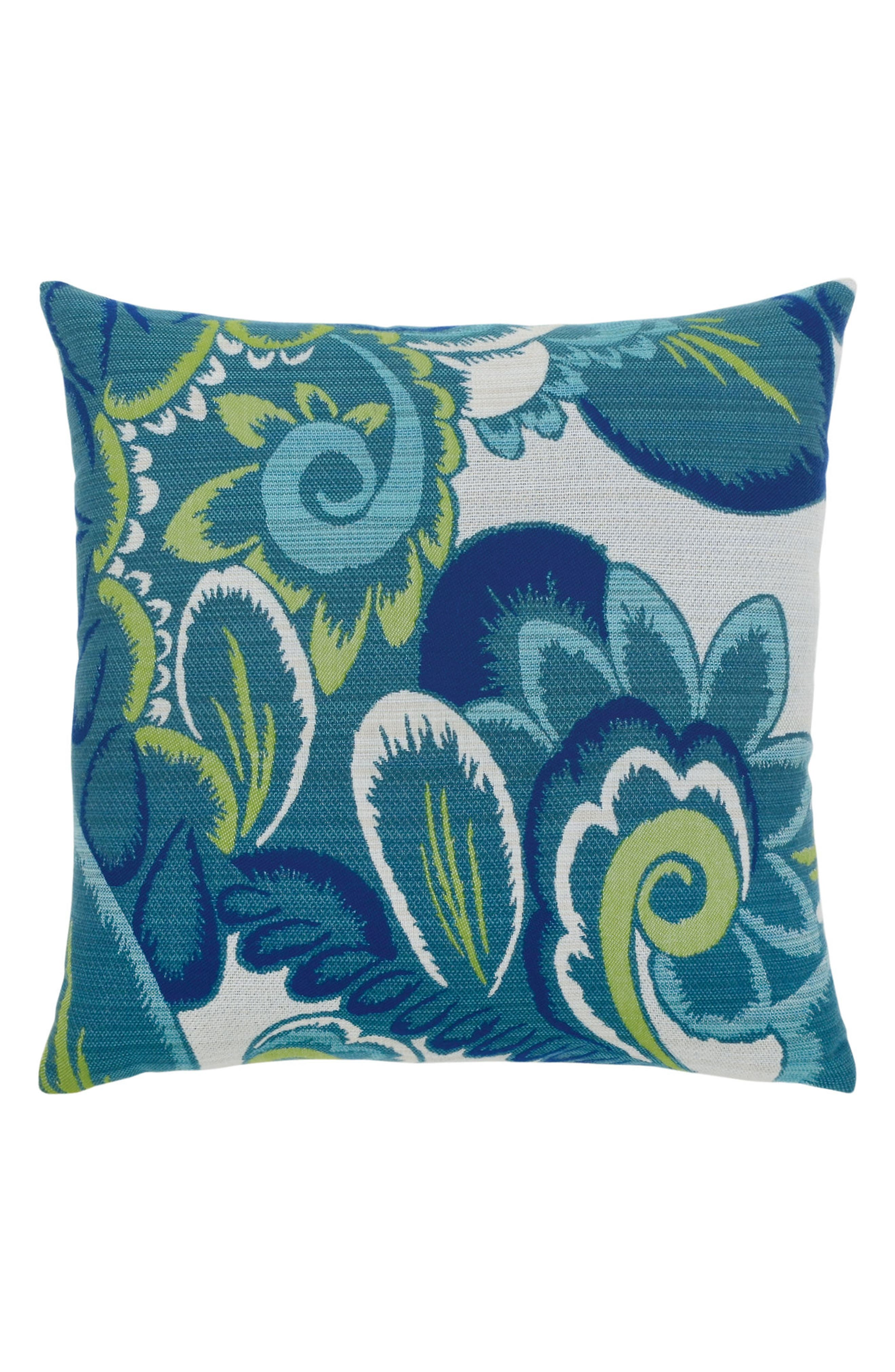 Floral Wave Indoor/Outdoor Accent Pillow,                             Main thumbnail 1, color,                             Blue/ Green