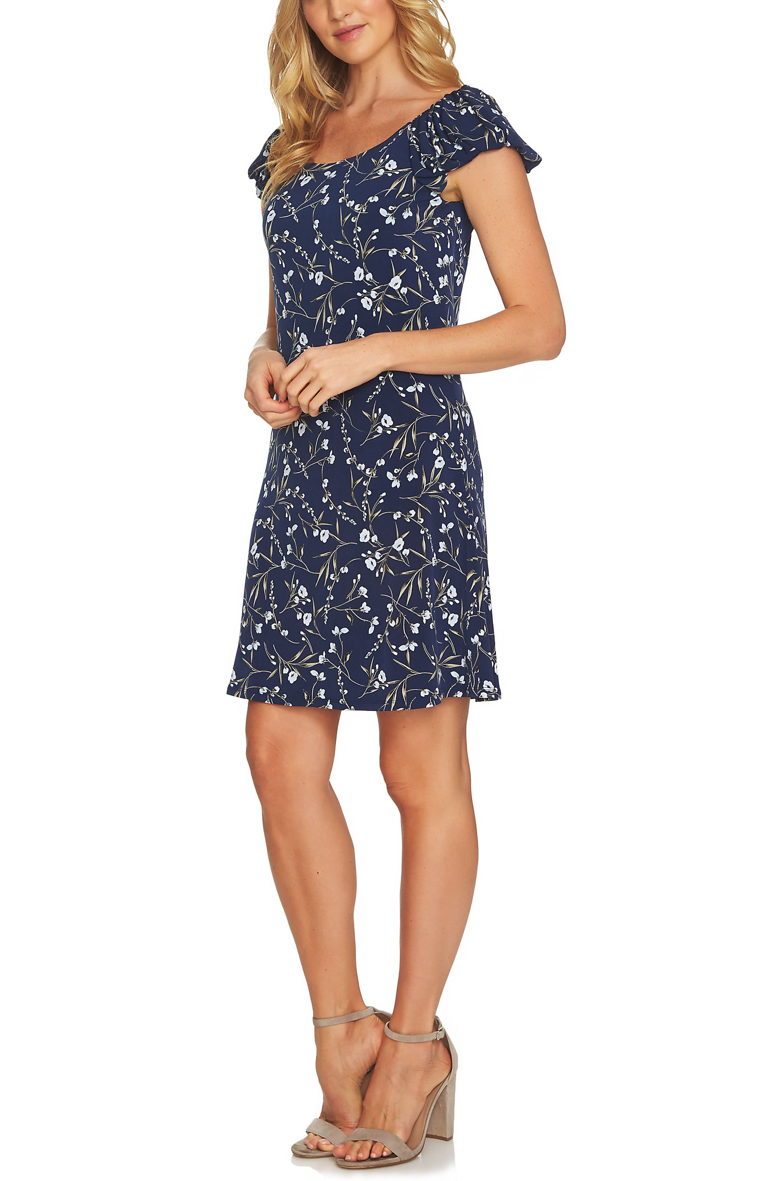 Graceful Flora Puff Sleeve Dress,                             Main thumbnail 1, color,                             Naval Navy