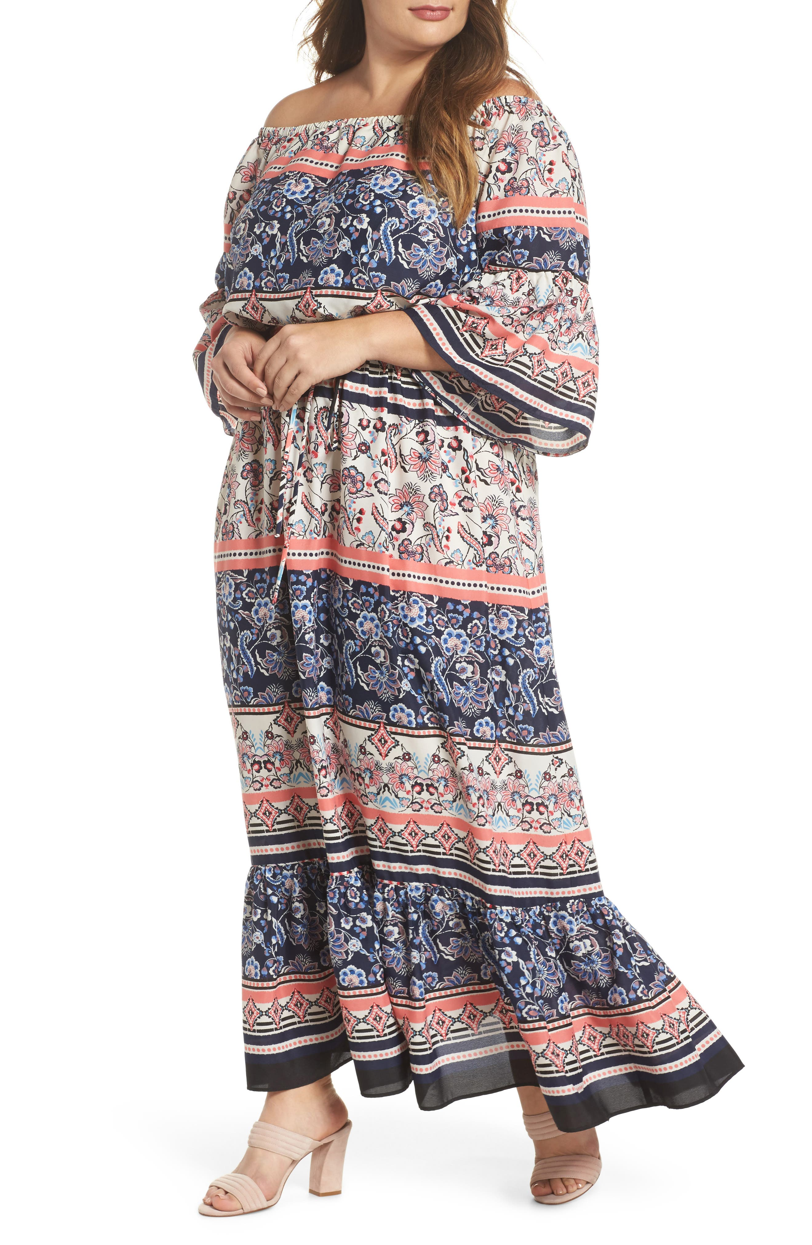 Print Off the Shoulder Maxi Dress,                         Main,                         color, Navy/ Pink/ Ivory