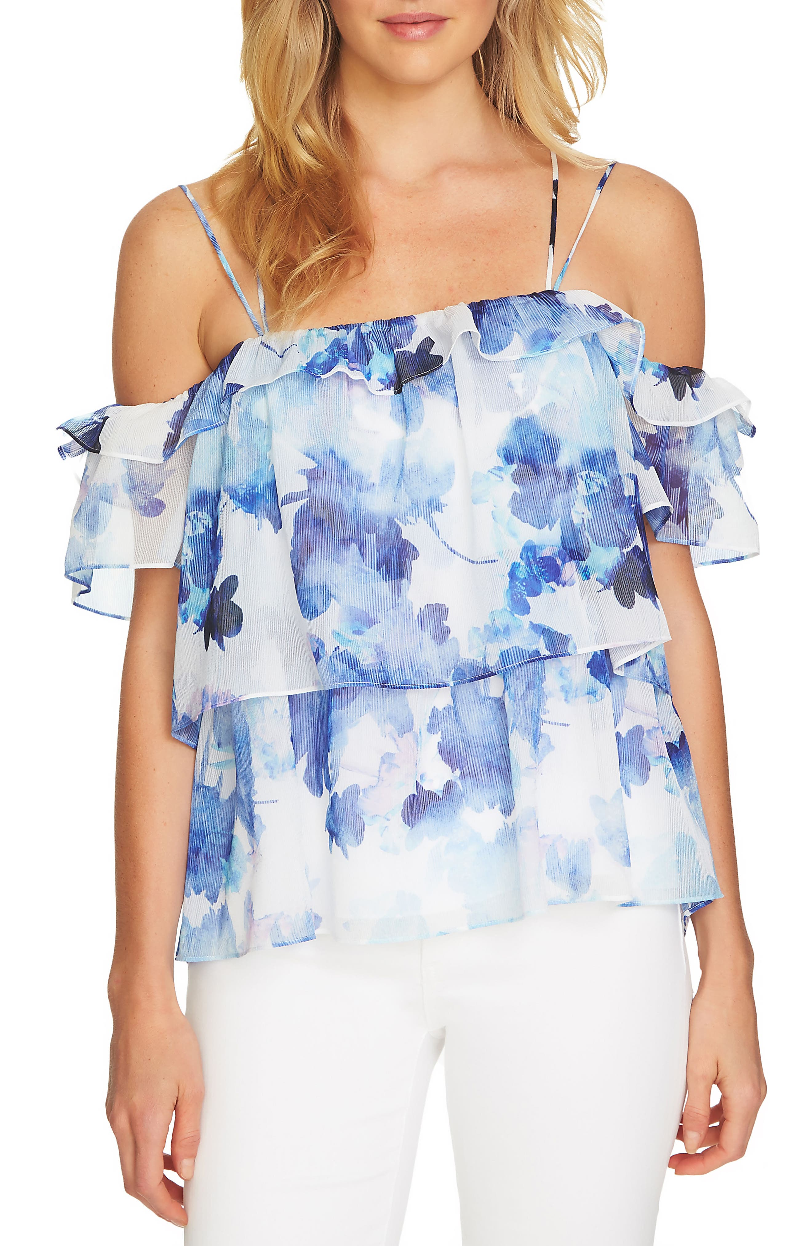 Dreamy Floral Cold Shoulder Top,                             Main thumbnail 1, color,                             Ultra White