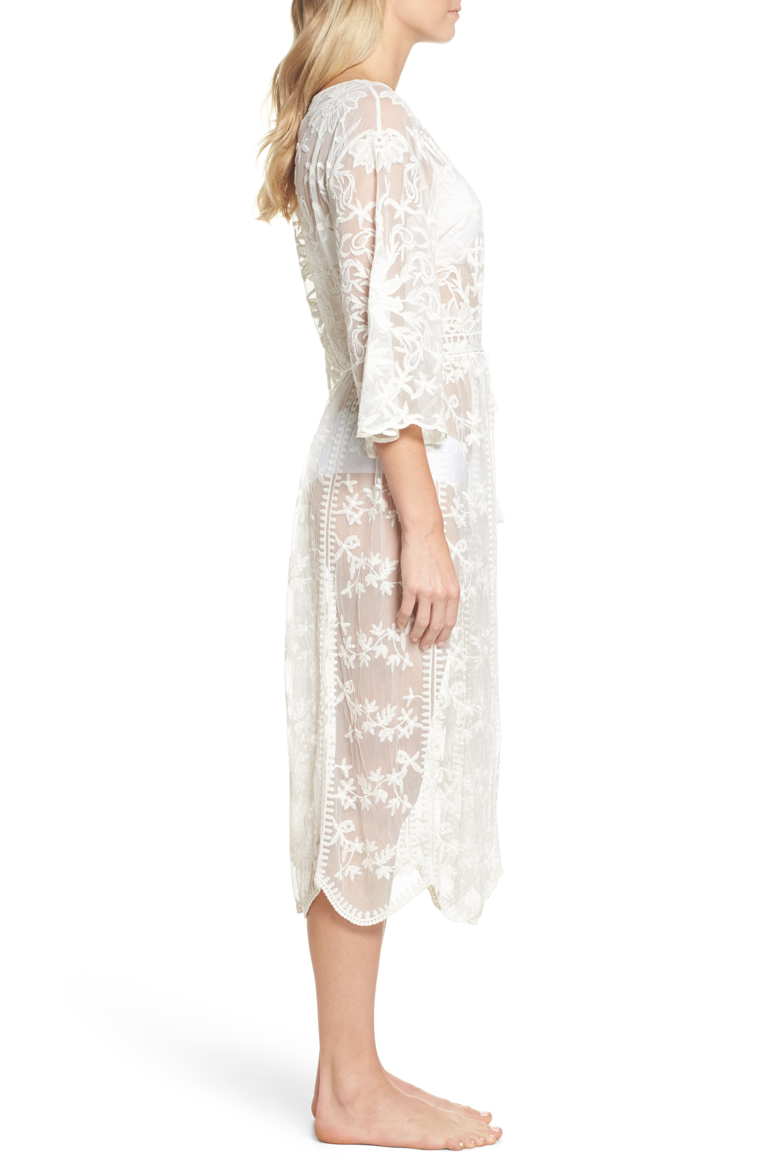 Tracey Embroidered Robe,                             Alternate thumbnail 3, color,                             Ivory