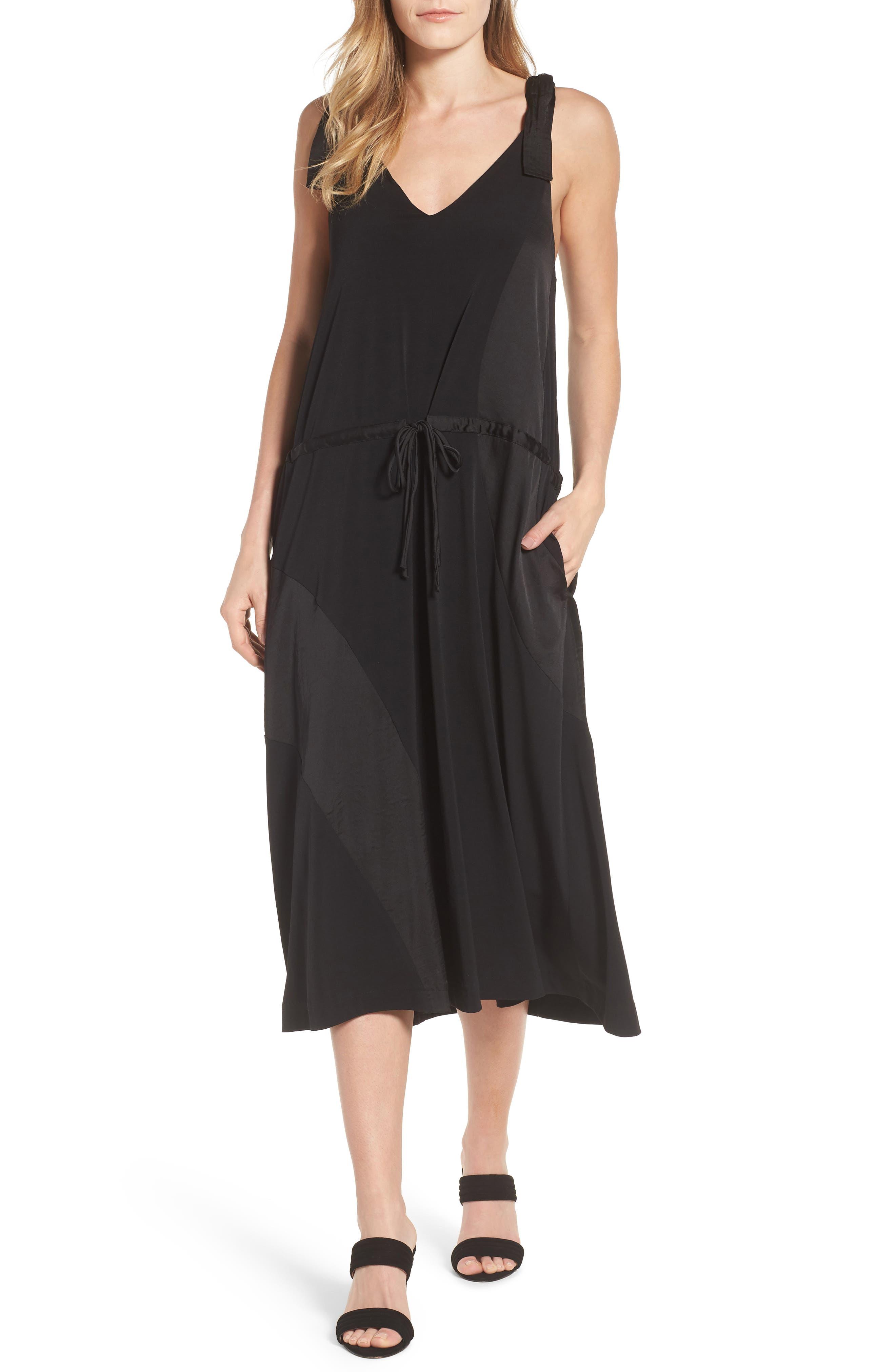 Shoulder Tie Tank Dress,                             Main thumbnail 1, color,                             Black