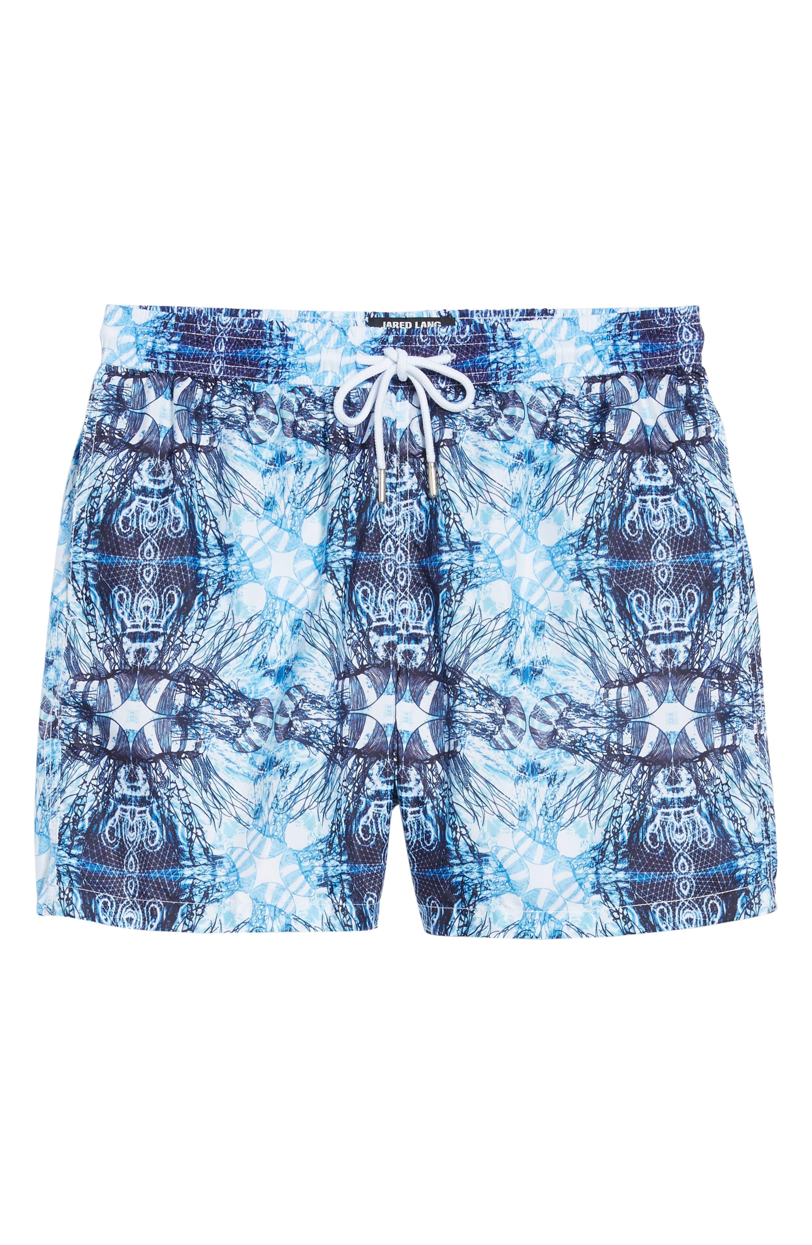 Trim Fit Swim Shorts,                             Alternate thumbnail 6, color,                             Light Blue Jelly Fish