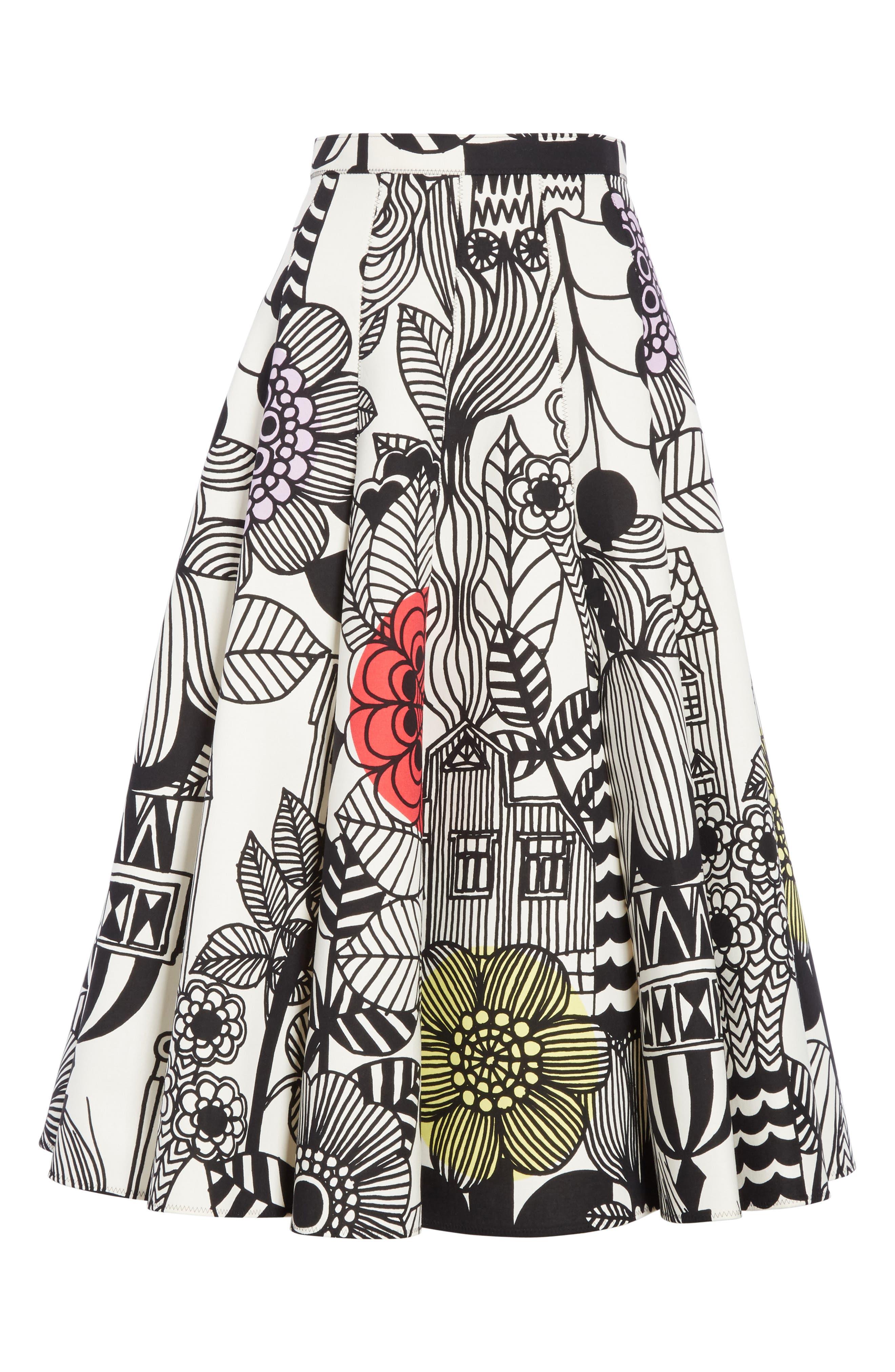 x Marimekko Vegetable Print Cotton Skirt,                             Alternate thumbnail 6, color,                             Wht/ Blk/ Ylw