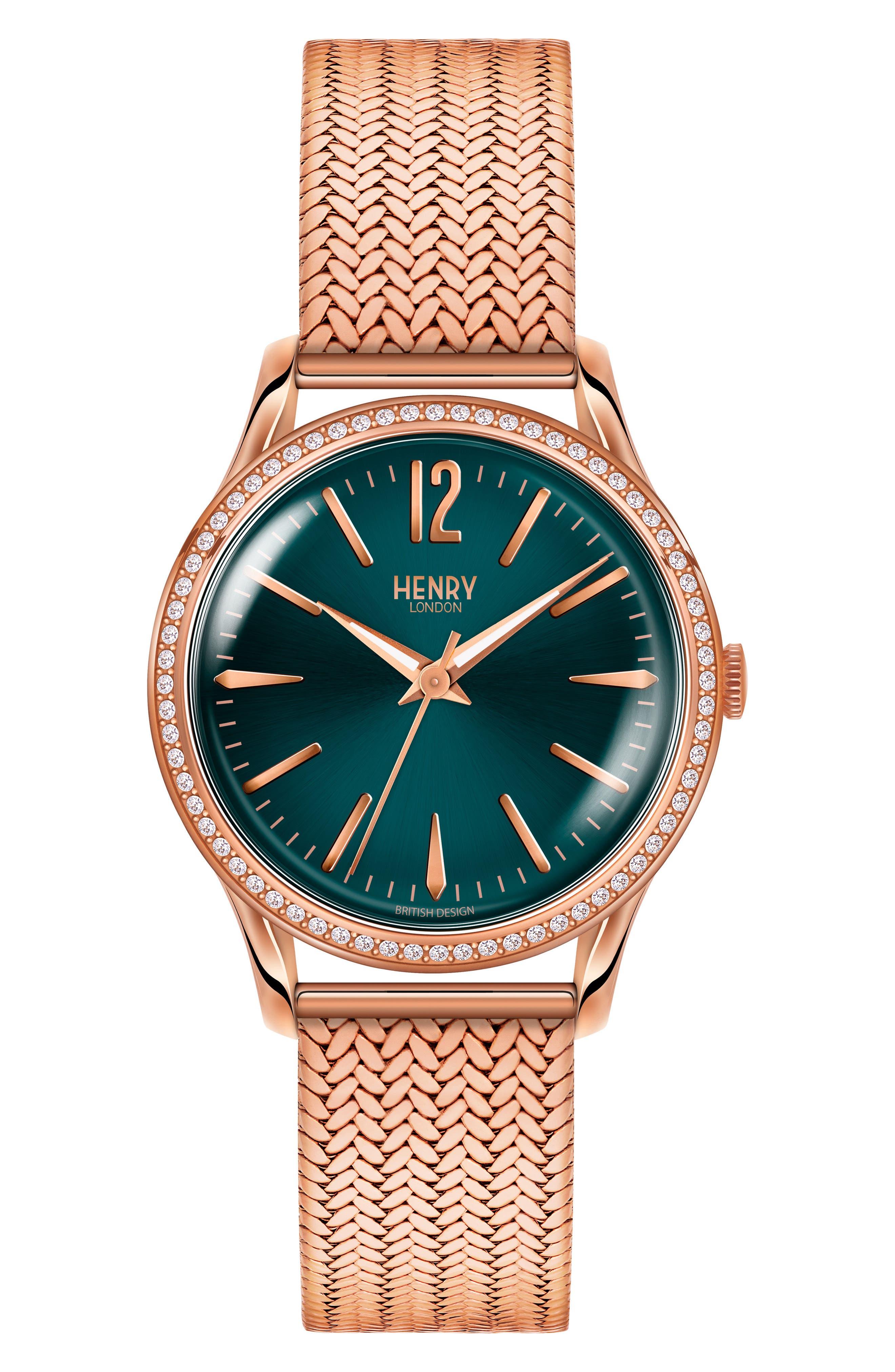 Stratford Mesh Strap Watch, 34mm,                             Main thumbnail 1, color,                             Rose Gold/ Mallard/ Rose Gold