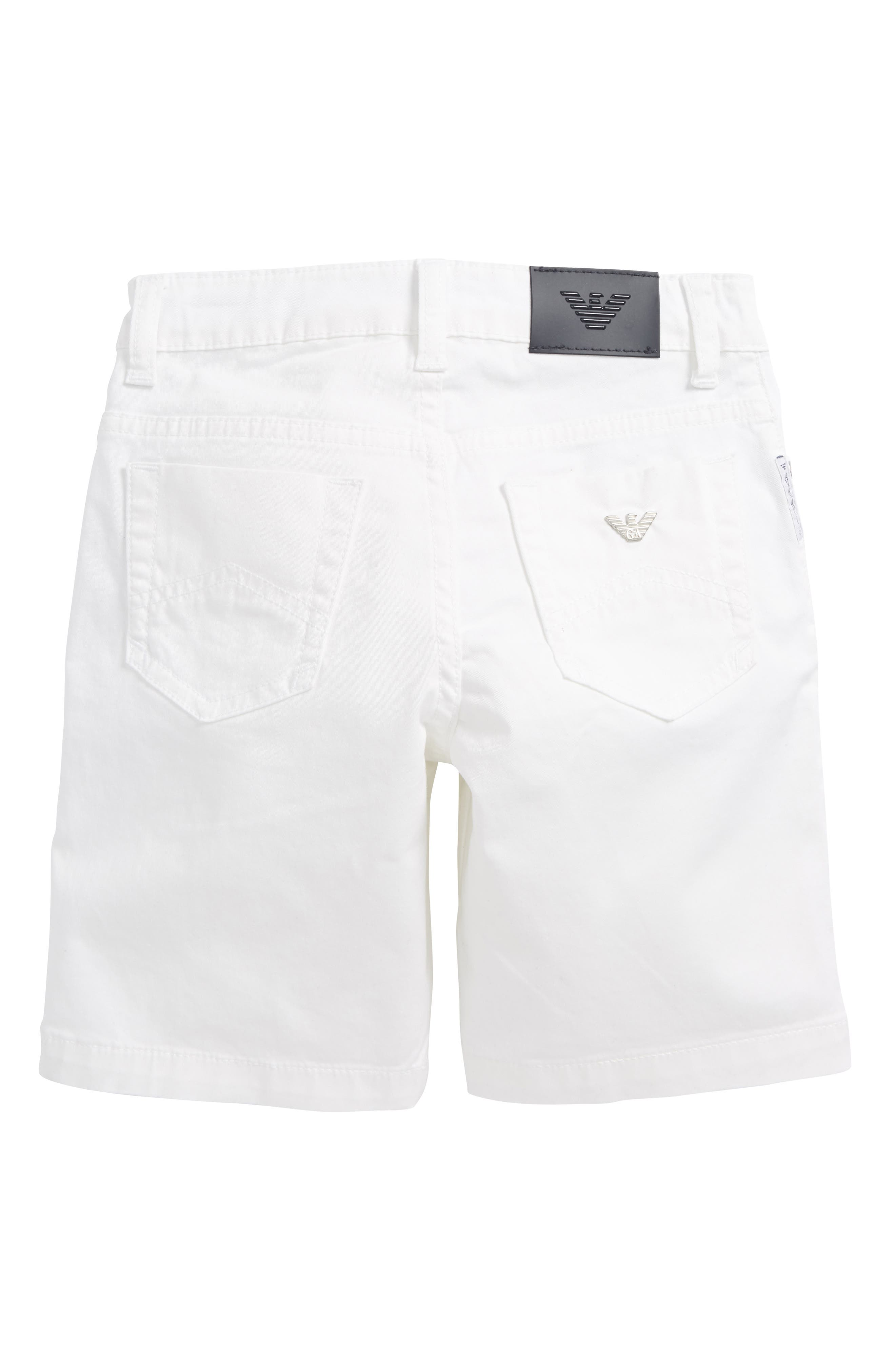 Stretch Cotton Shorts,                             Alternate thumbnail 2, color,                             White