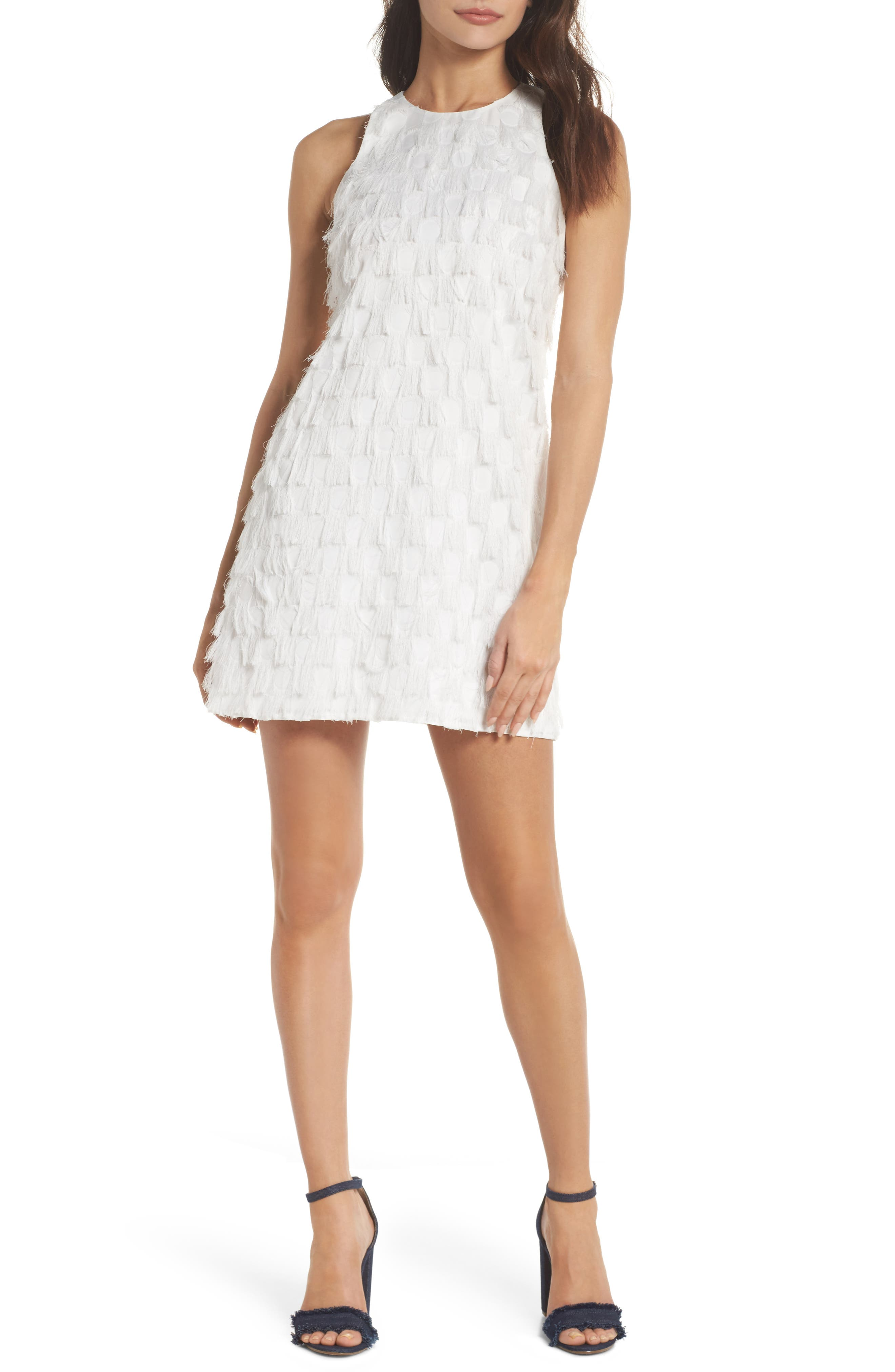Shake Your Tail Feathers Minidress,                         Main,                         color, White Fringe