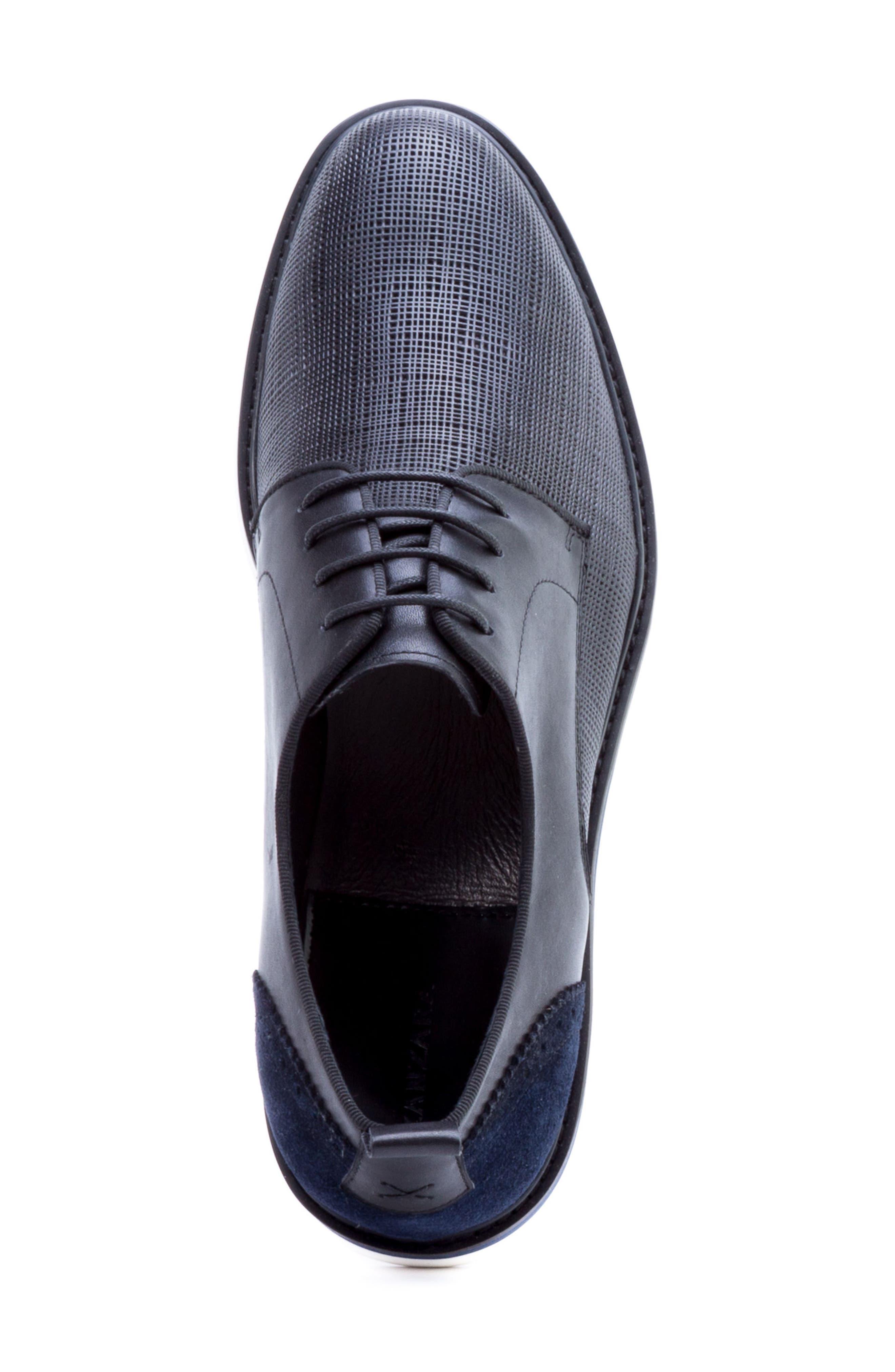 Stem Textured Plain Toe Derby,                             Alternate thumbnail 5, color,                             Black Leather