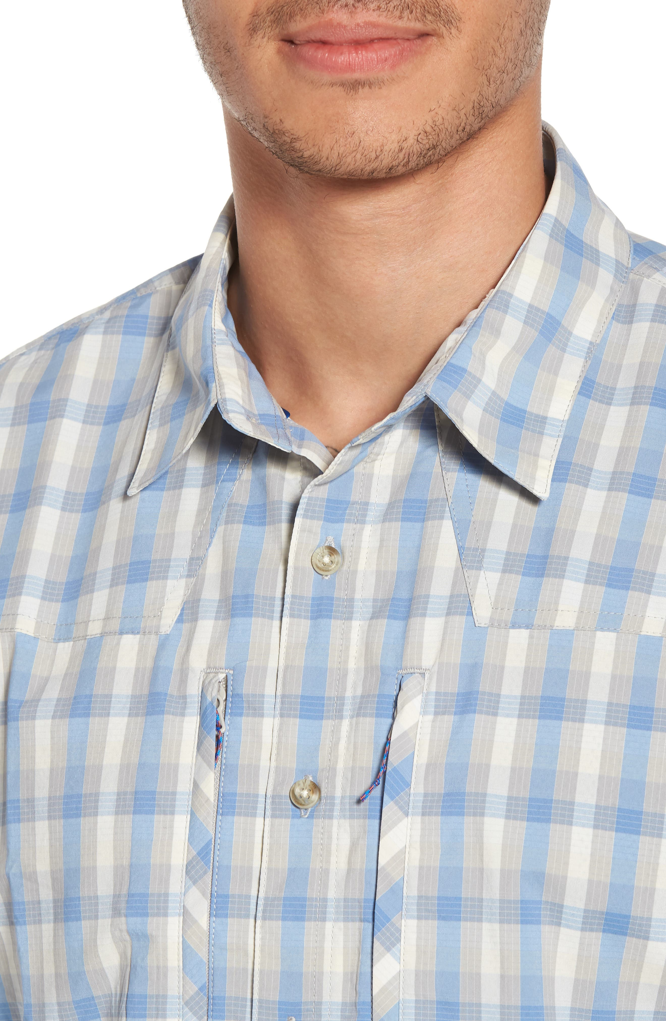 M's Sun Plaid Stretch Hybrid Shirt,                             Alternate thumbnail 4, color,                             Mauro Railroad Blue