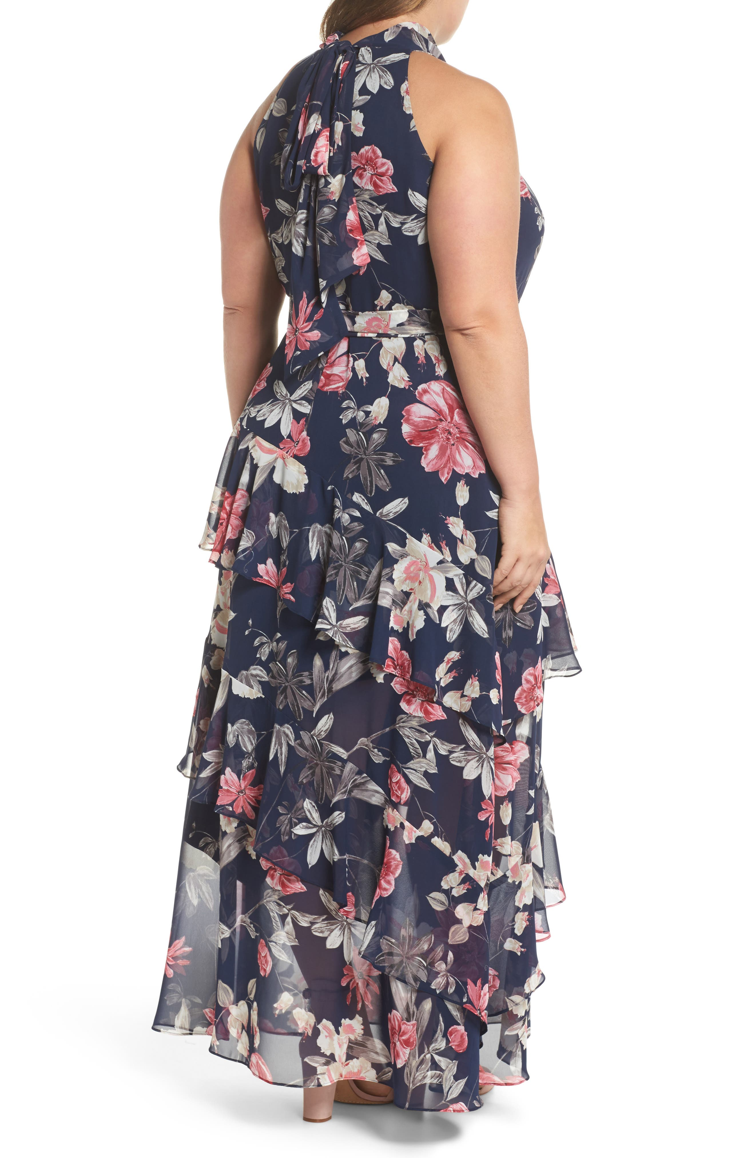 Halter Neck Chiffon Gown,                             Alternate thumbnail 2, color,                             Navy/ Pink