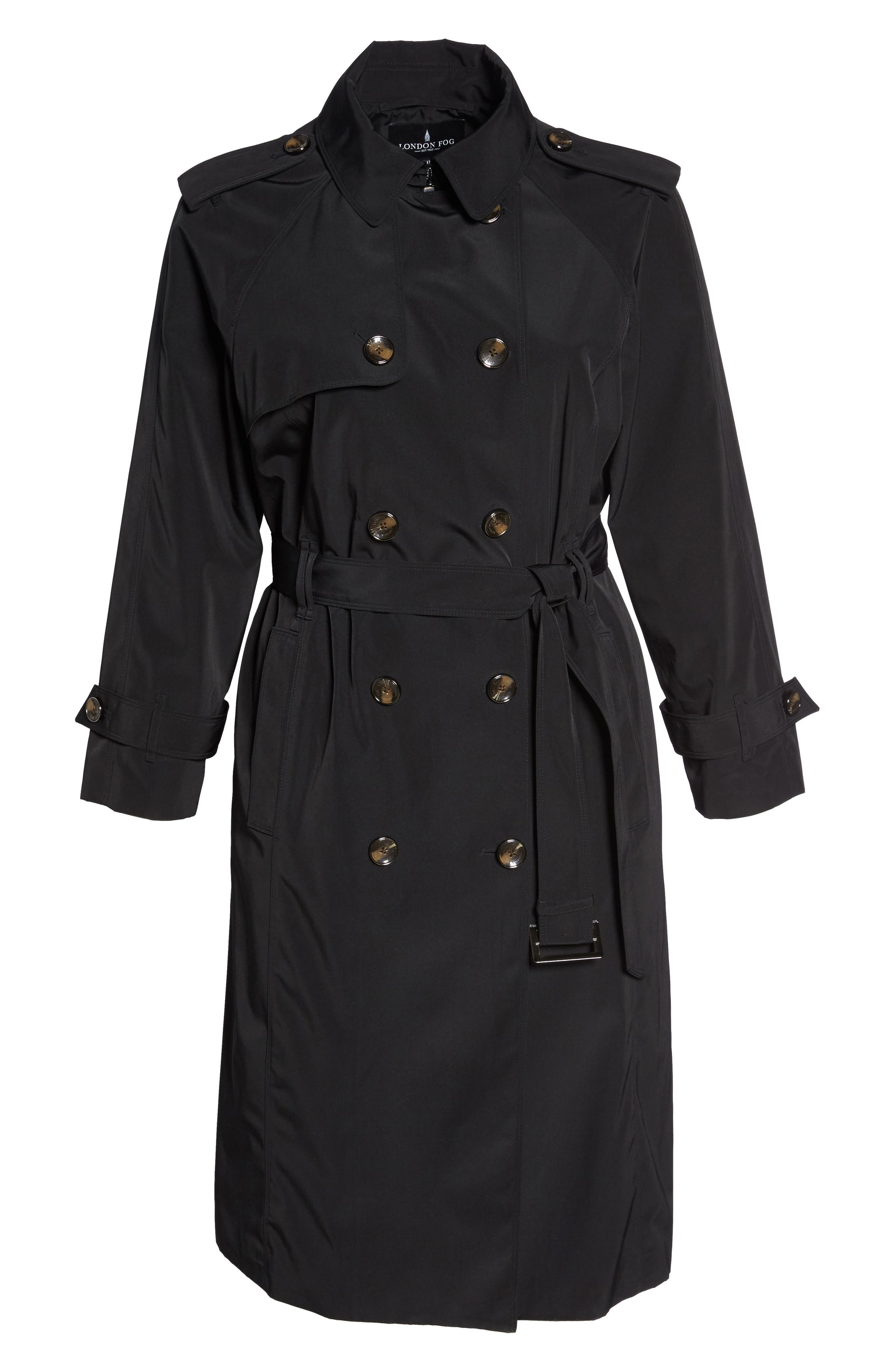 Water Resistant Hooded Trench Coat,                             Alternate thumbnail 6, color,                             Black