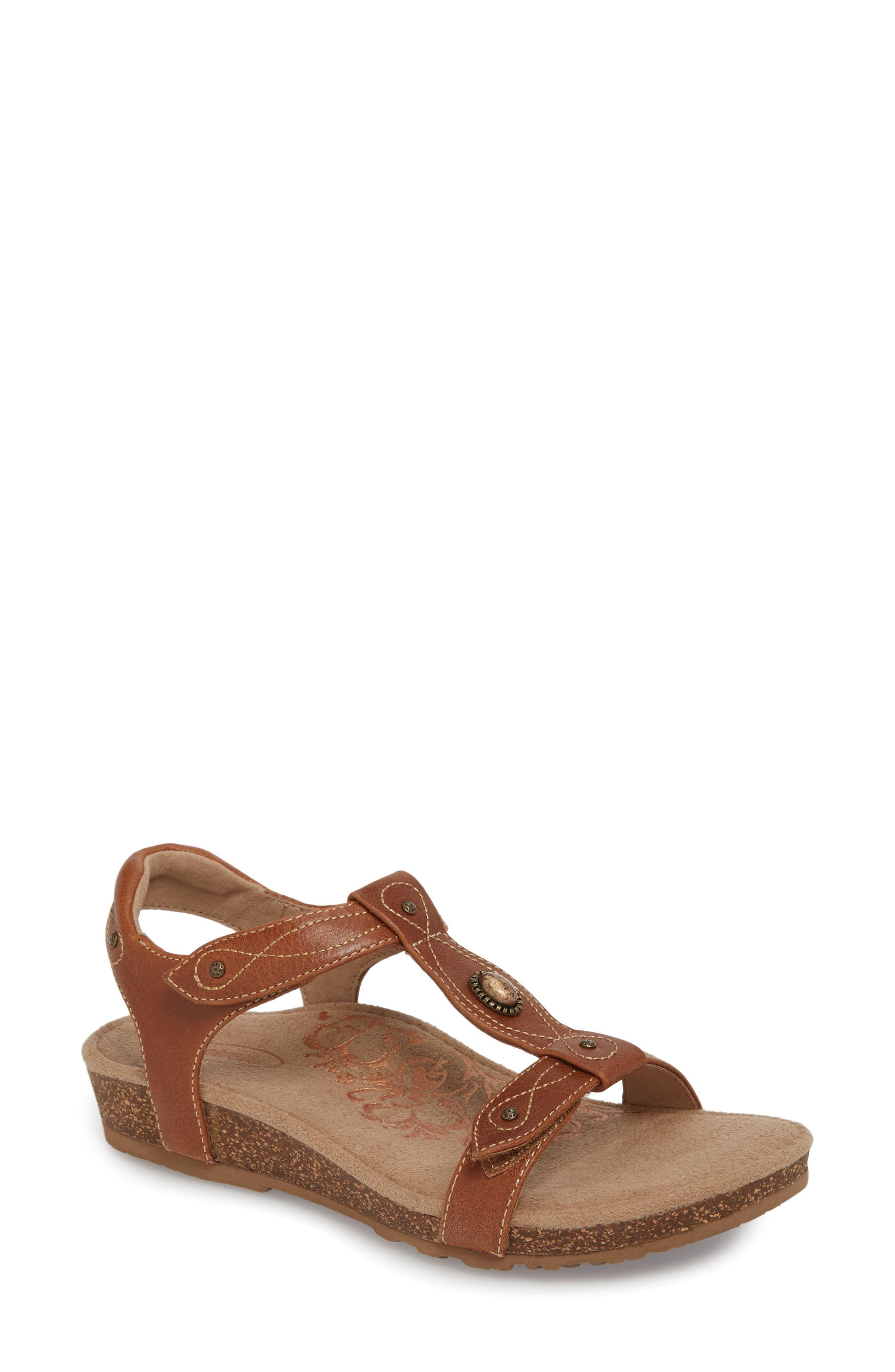 'Lori' Sandal,                             Main thumbnail 1, color,                             Cognac Leather