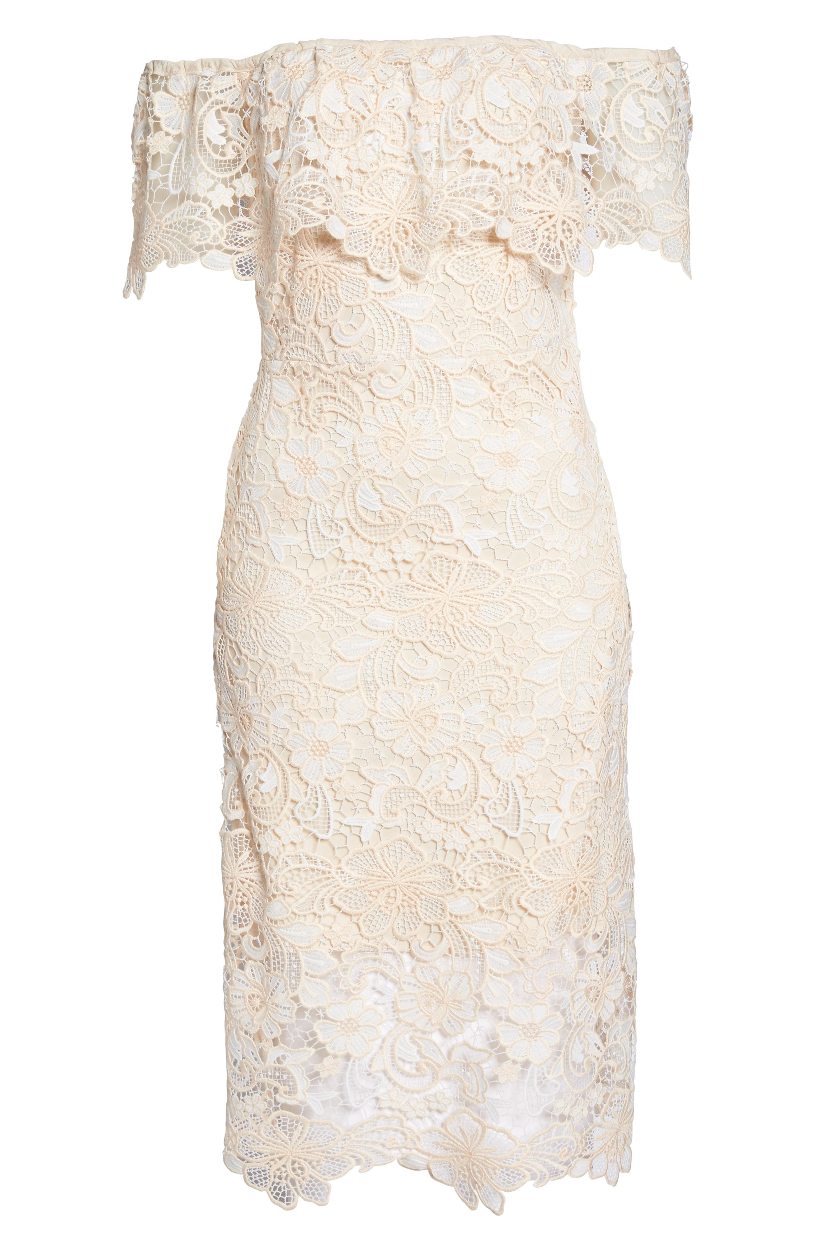 Off the Shoulder Lace Midi Dress,                             Alternate thumbnail 6, color,                             Ivory Floral