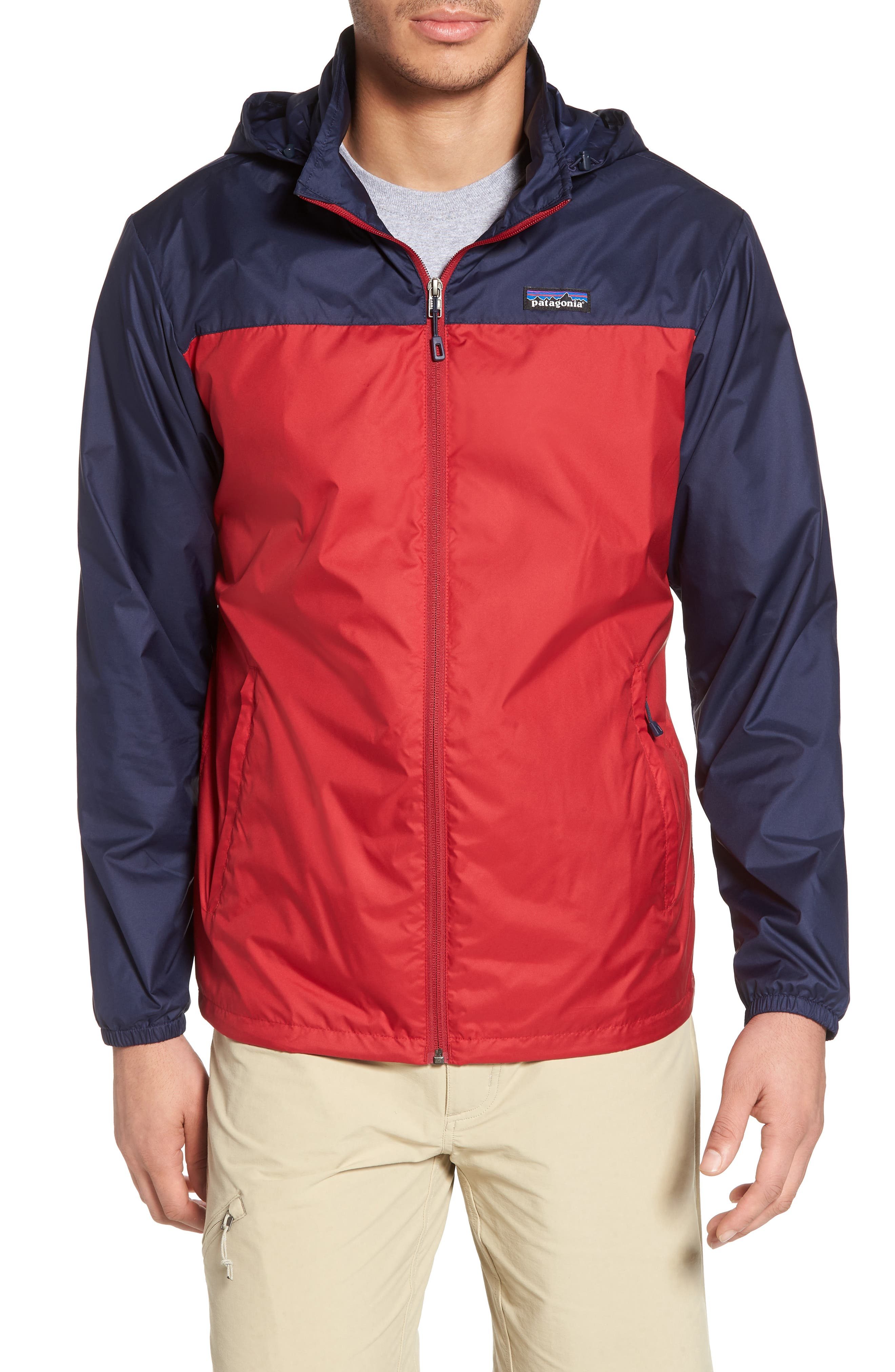 Light & Variable<sup>™</sup> Wind & Water Resistant Hooded Jacket,                             Main thumbnail 1, color,                             Classic Red
