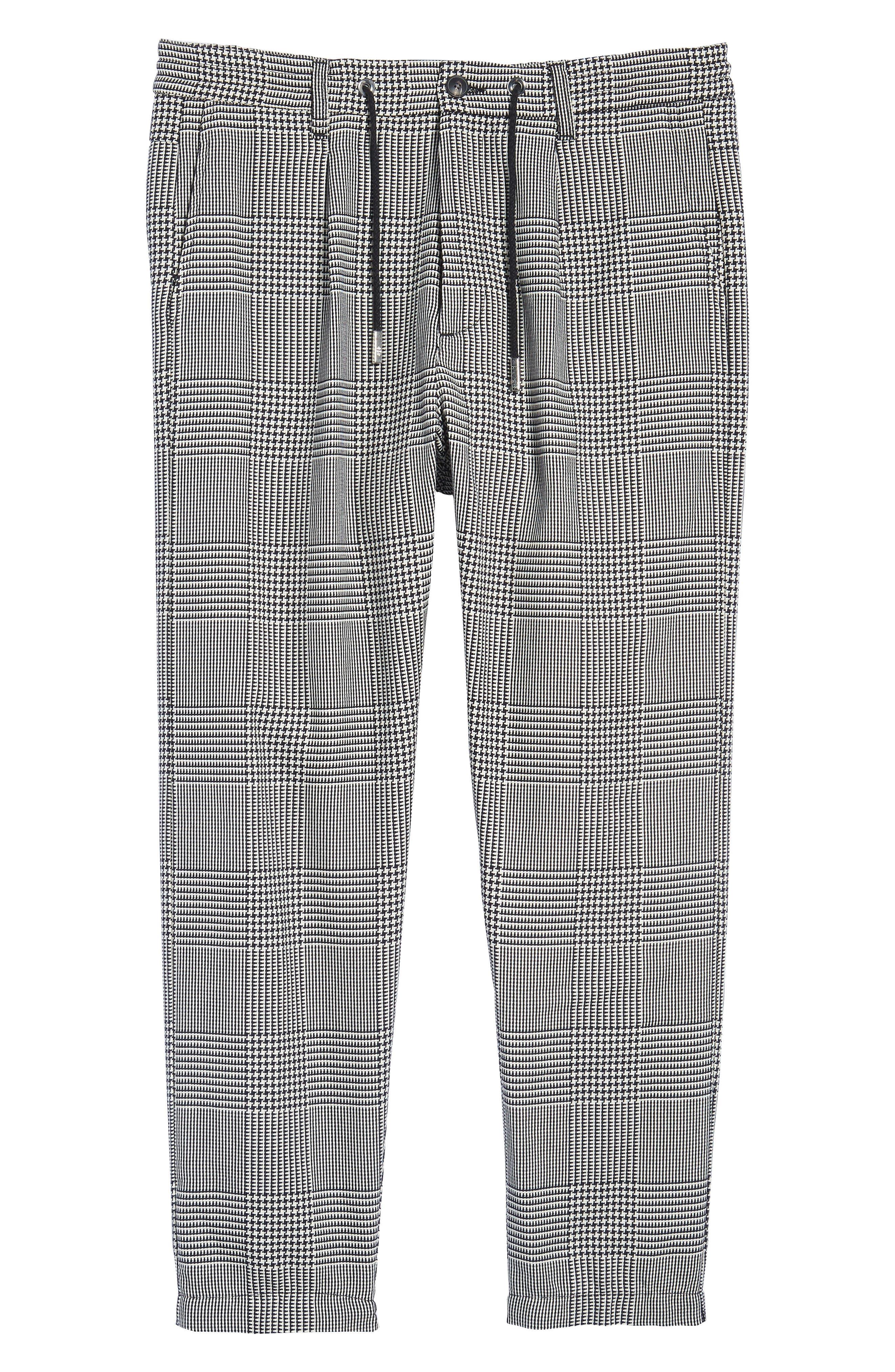 Prince of Wales Check Jogger Pants,                             Alternate thumbnail 6, color,                             Blk/White