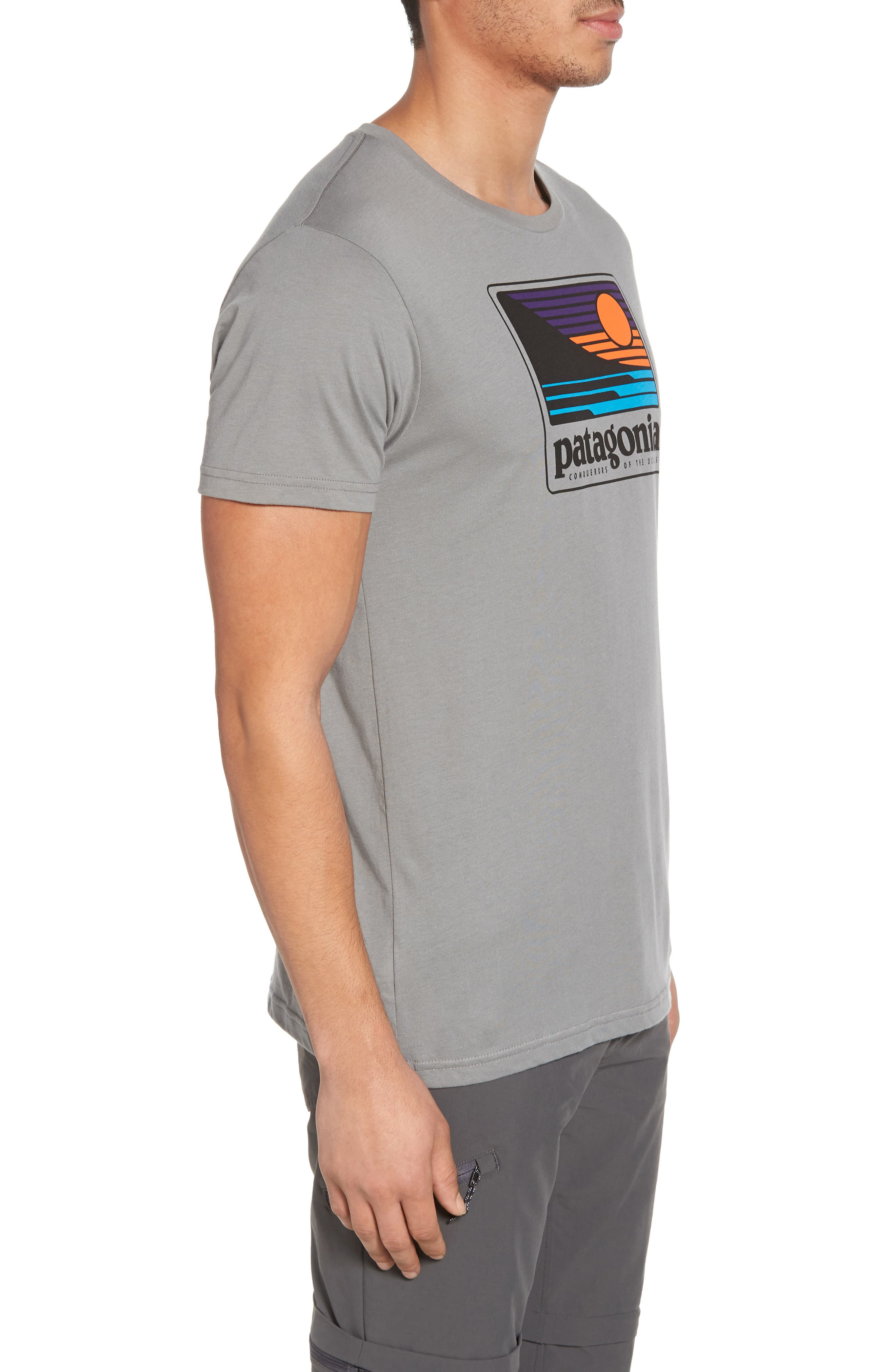 Up & Out Graphic Organic Cotton T-Shirt,                             Alternate thumbnail 3, color,                             Feather Grey