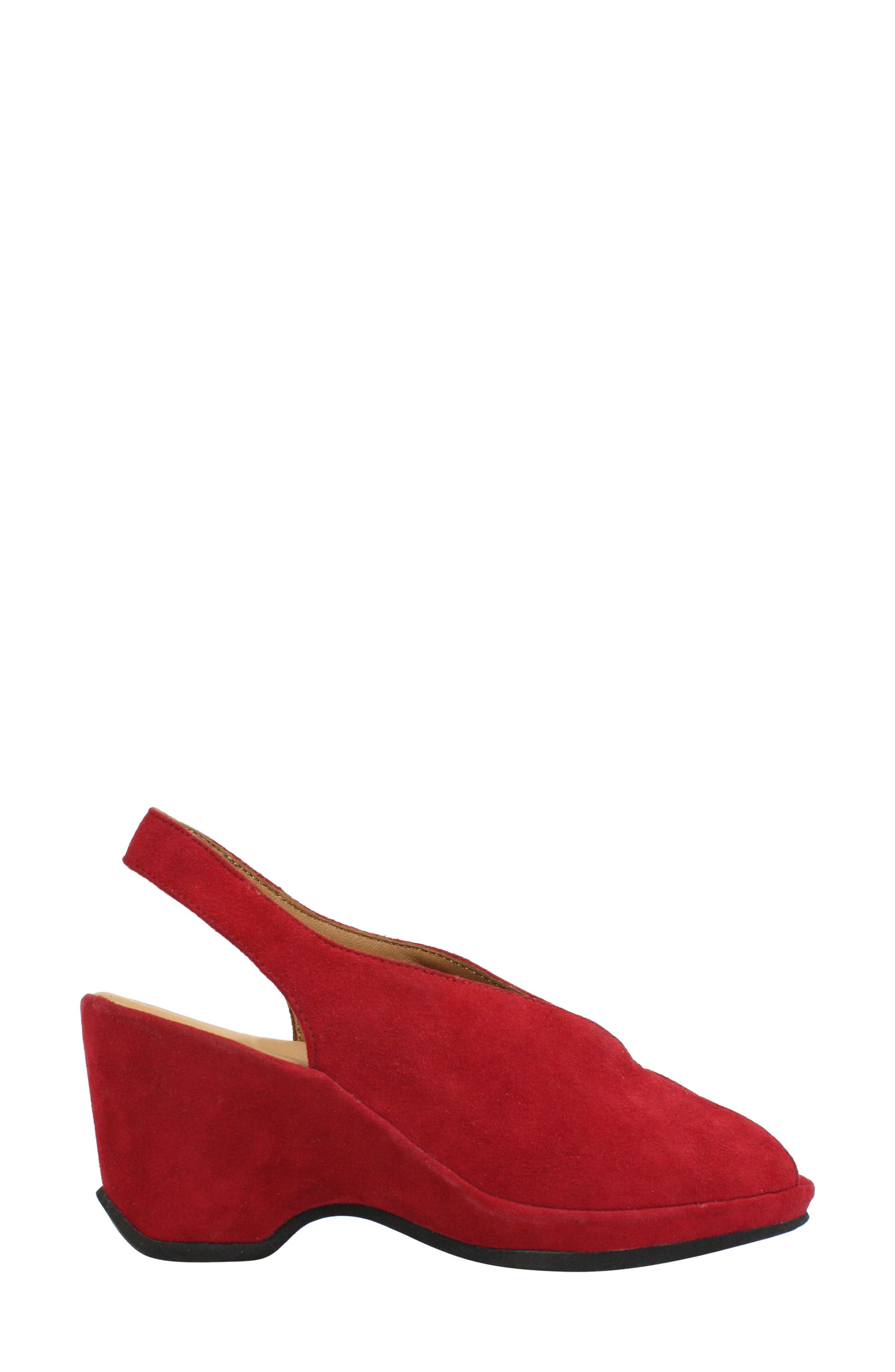 Odetta Slingback Wedge,                             Alternate thumbnail 3, color,                             Bright Red Suede