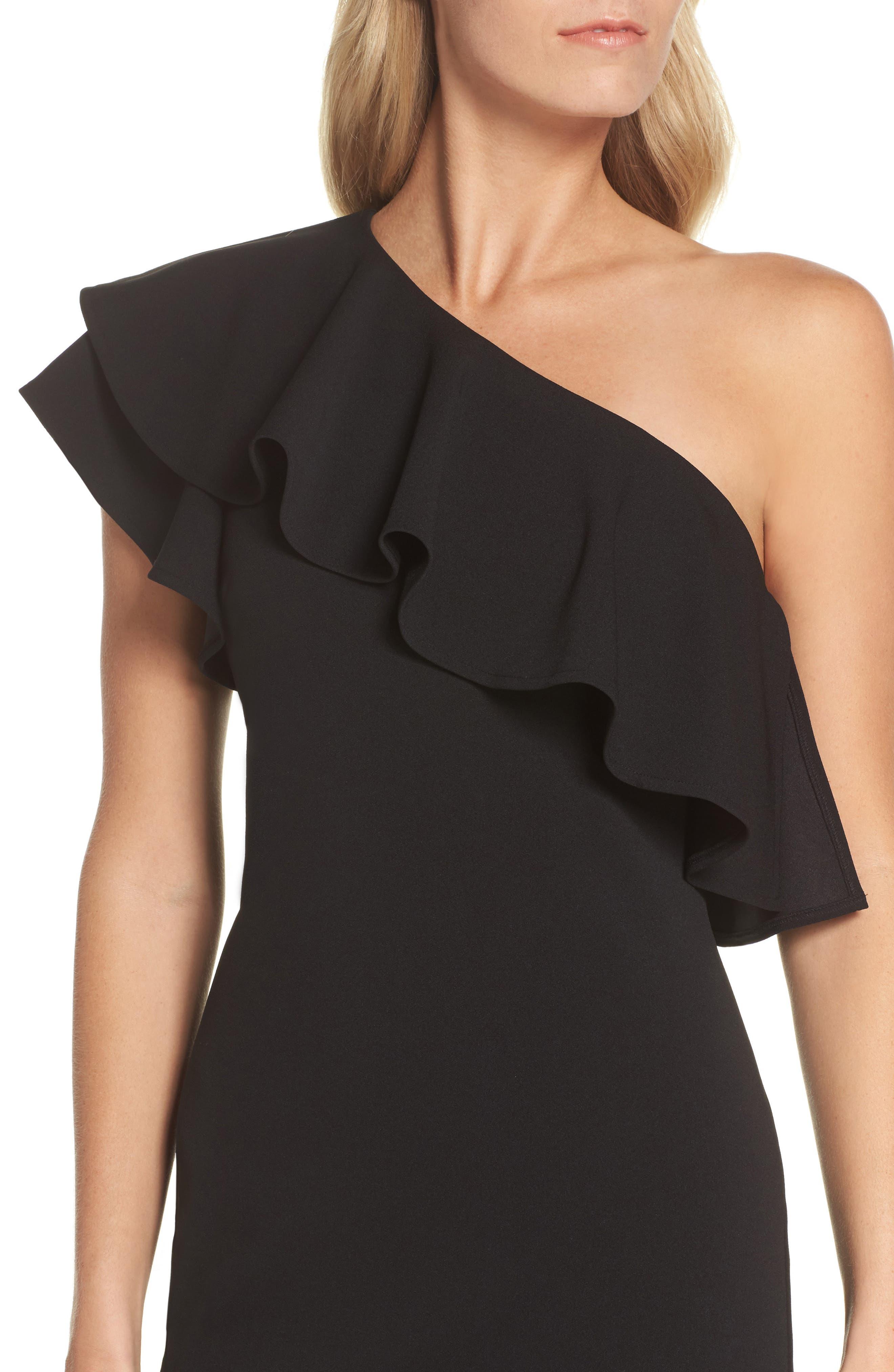 One-Shoulder Ruffle Dress,                             Alternate thumbnail 4, color,                             Black