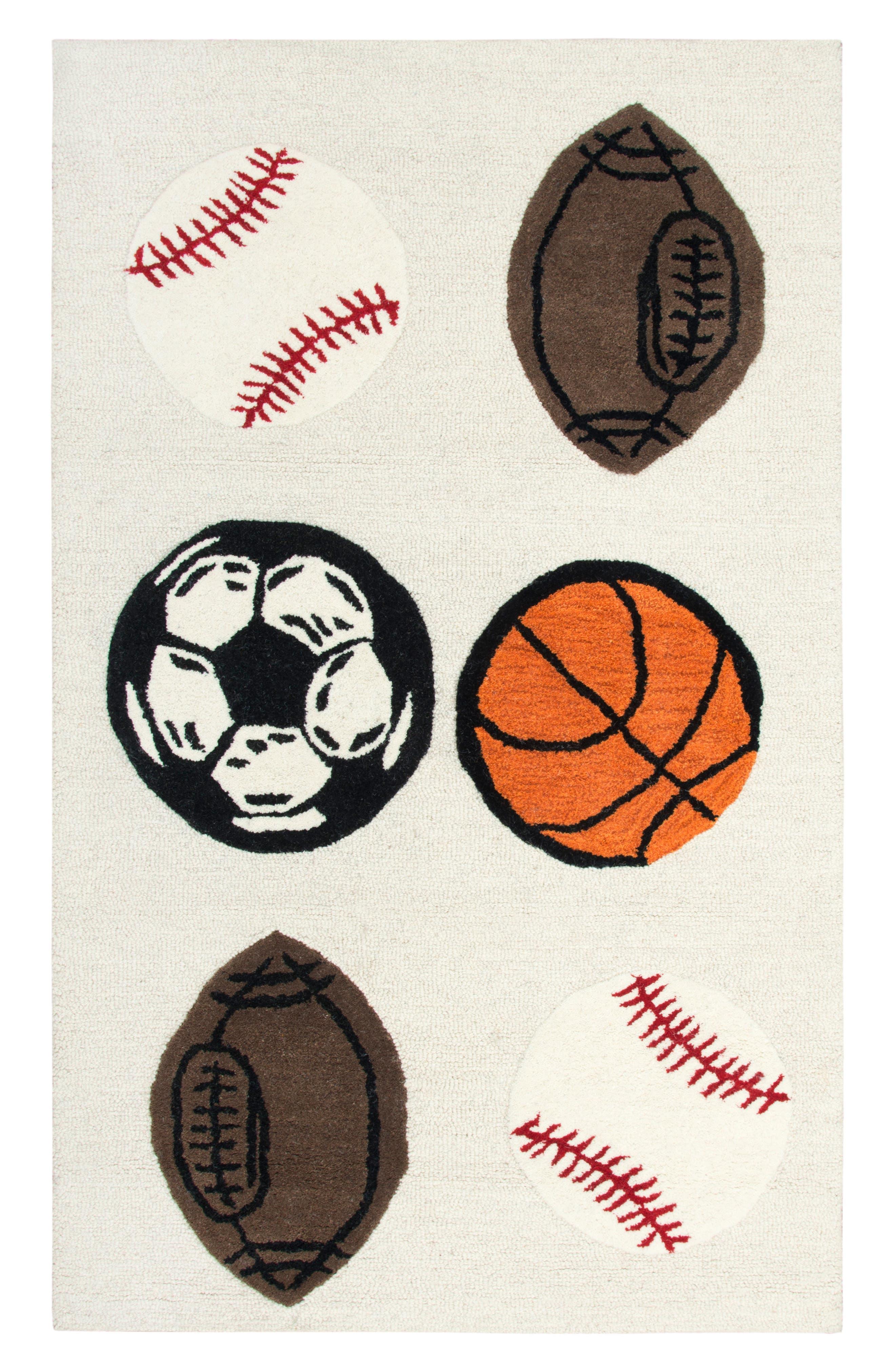 Play Day Play Ball Rug,                             Main thumbnail 1, color,                             Ivory