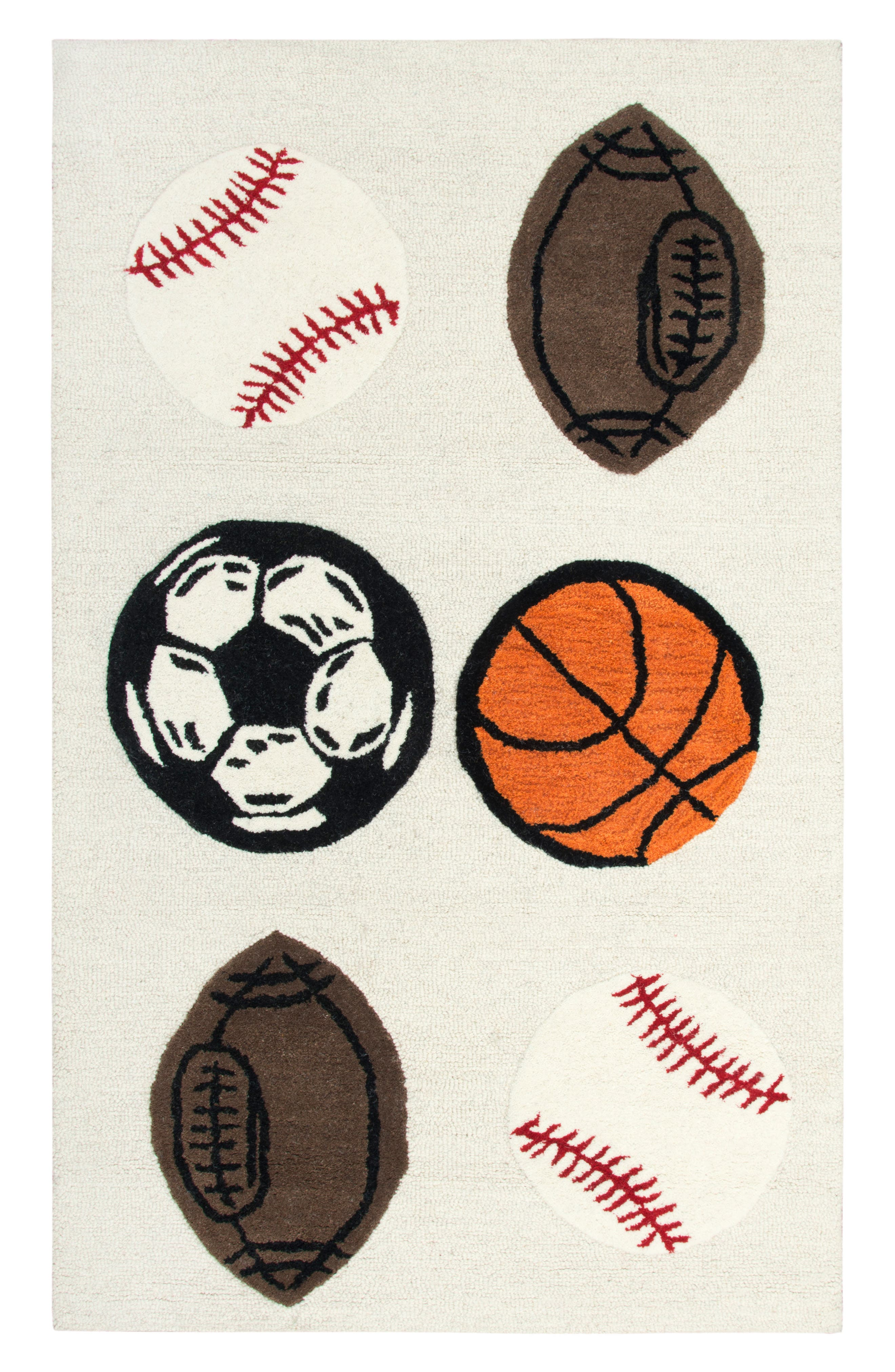 Play Day Play Ball Rug,                         Main,                         color, Ivory