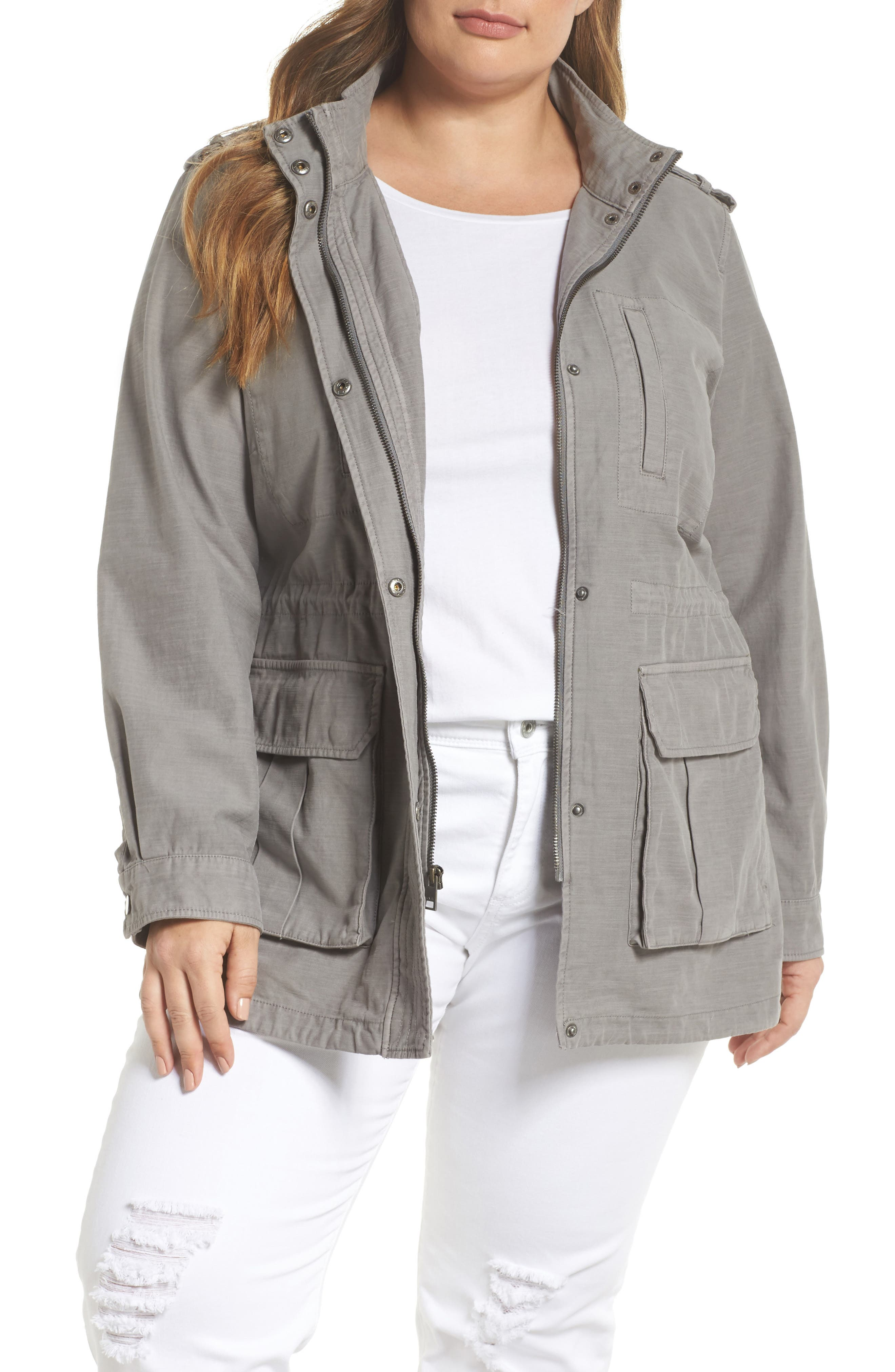 Cotton Fishtail Field Jacket,                             Main thumbnail 1, color,                             Grey