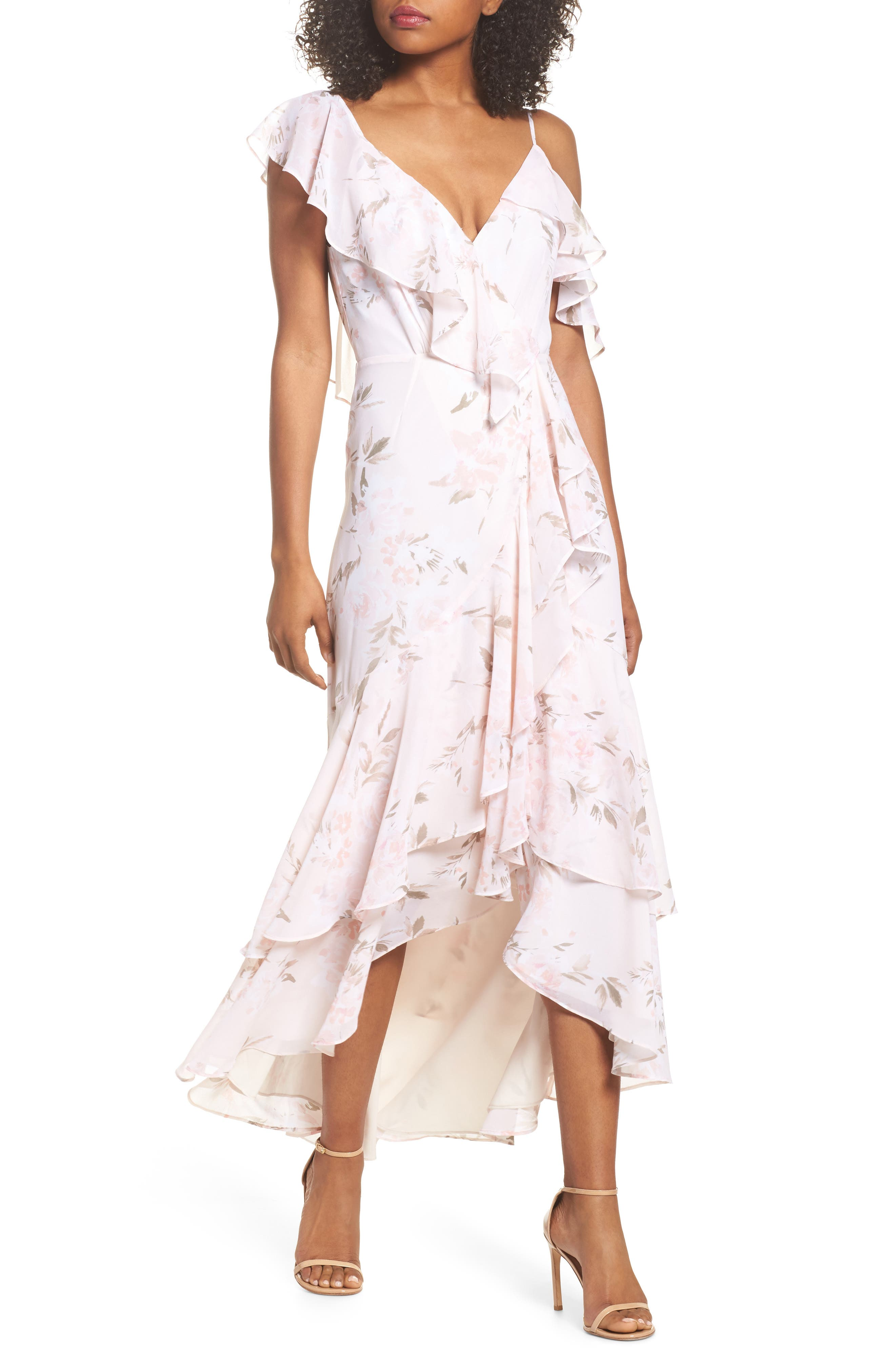 Main Image - WAYF Elanor Ruffle Faux Wrap Maxi Dress