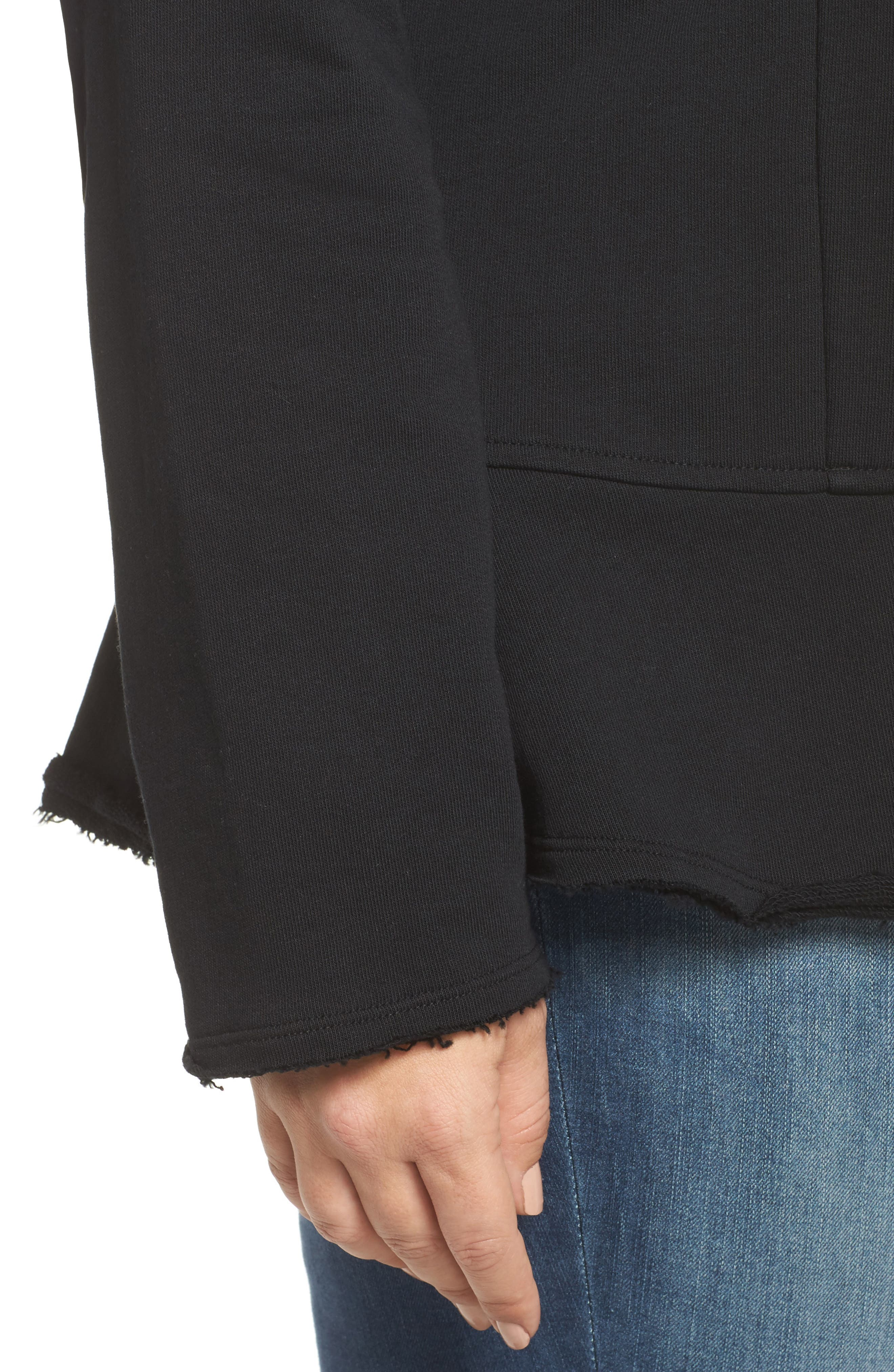 Knit Peplum Jacket,                             Alternate thumbnail 4, color,                             Black
