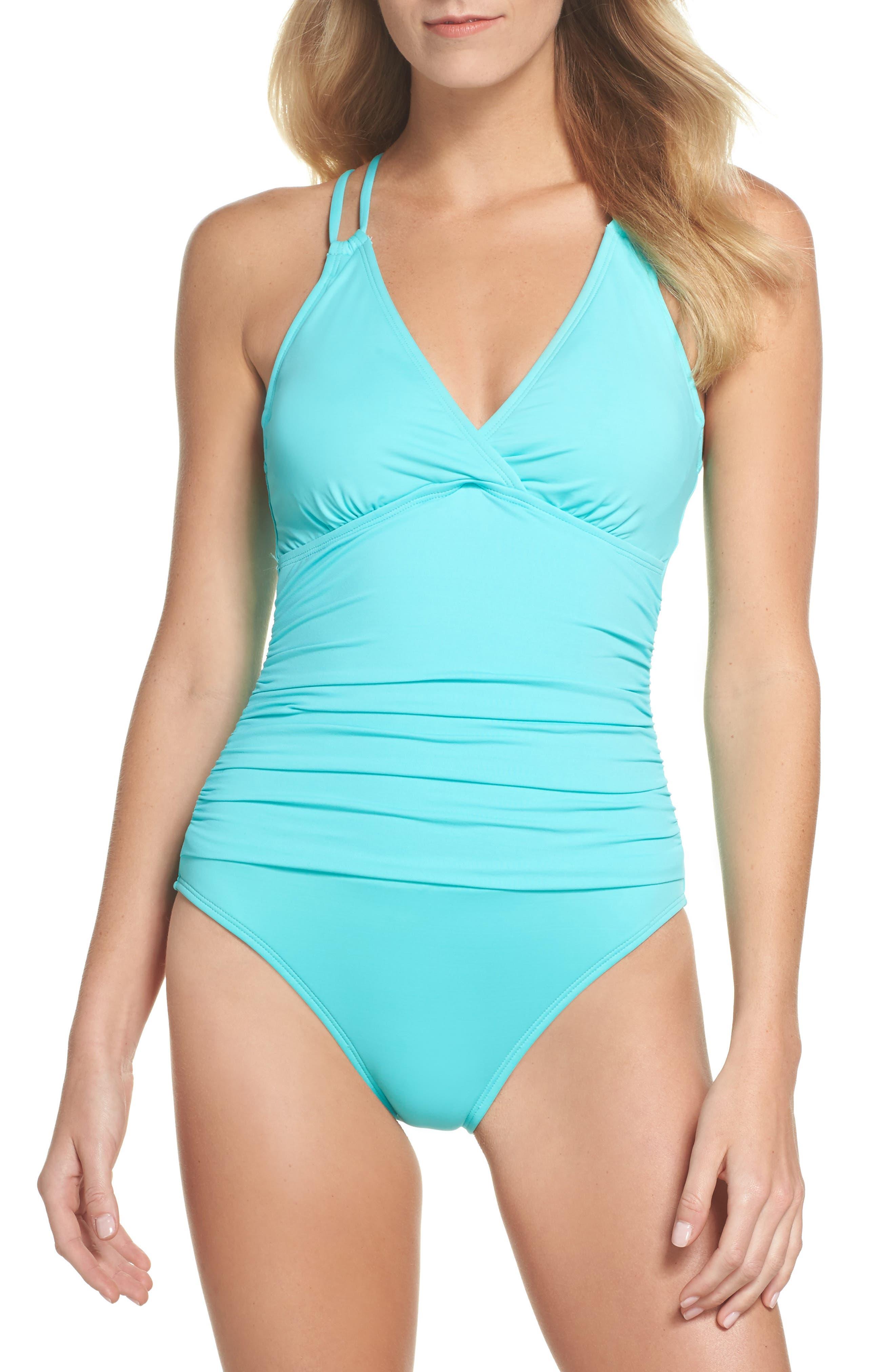 Island One-Piece Swimsuit,                         Main,                         color, Seafoam