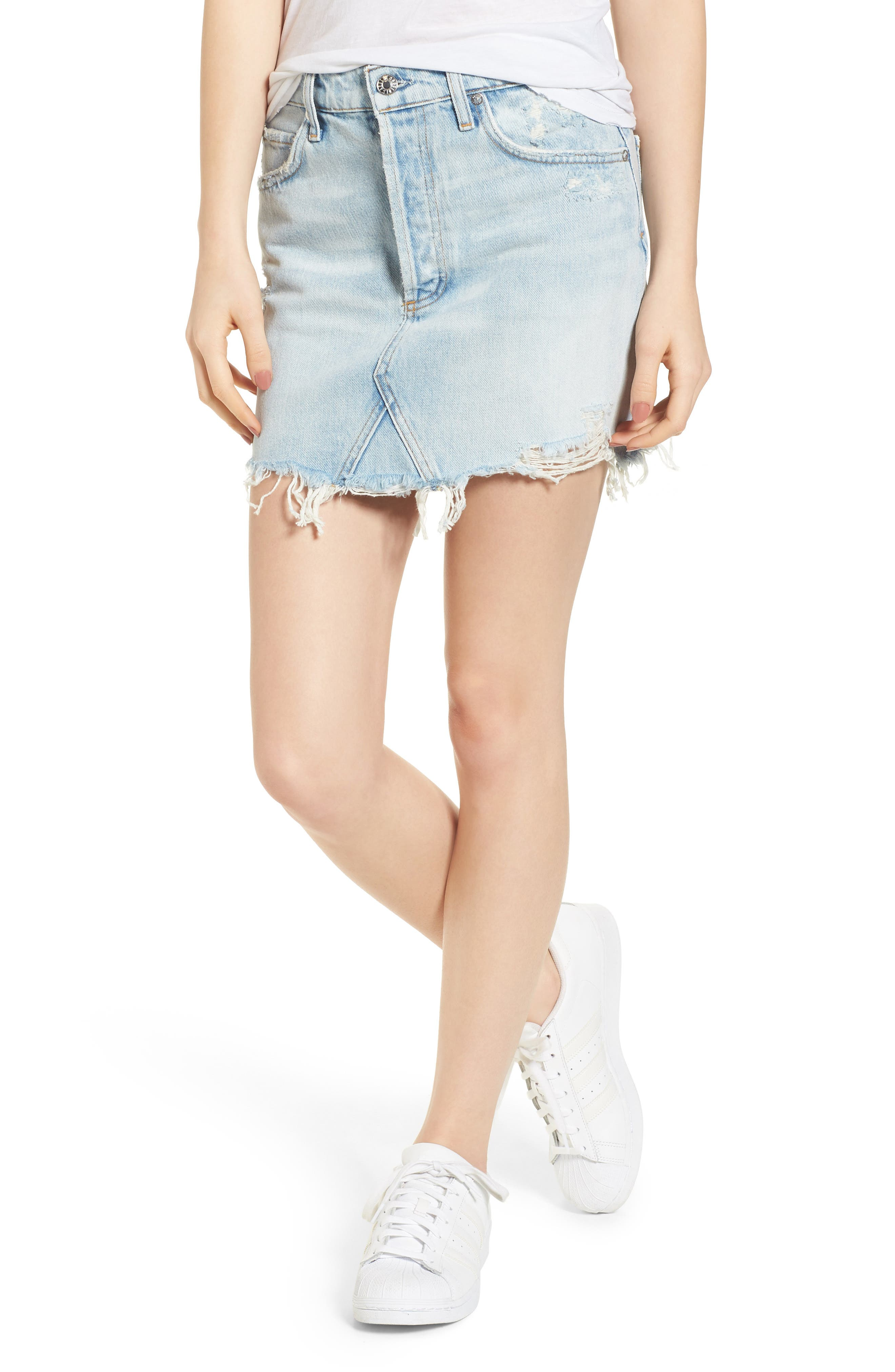 Quinn High Waist Cutoff Denim Miniskirt,                         Main,                         color, Vega