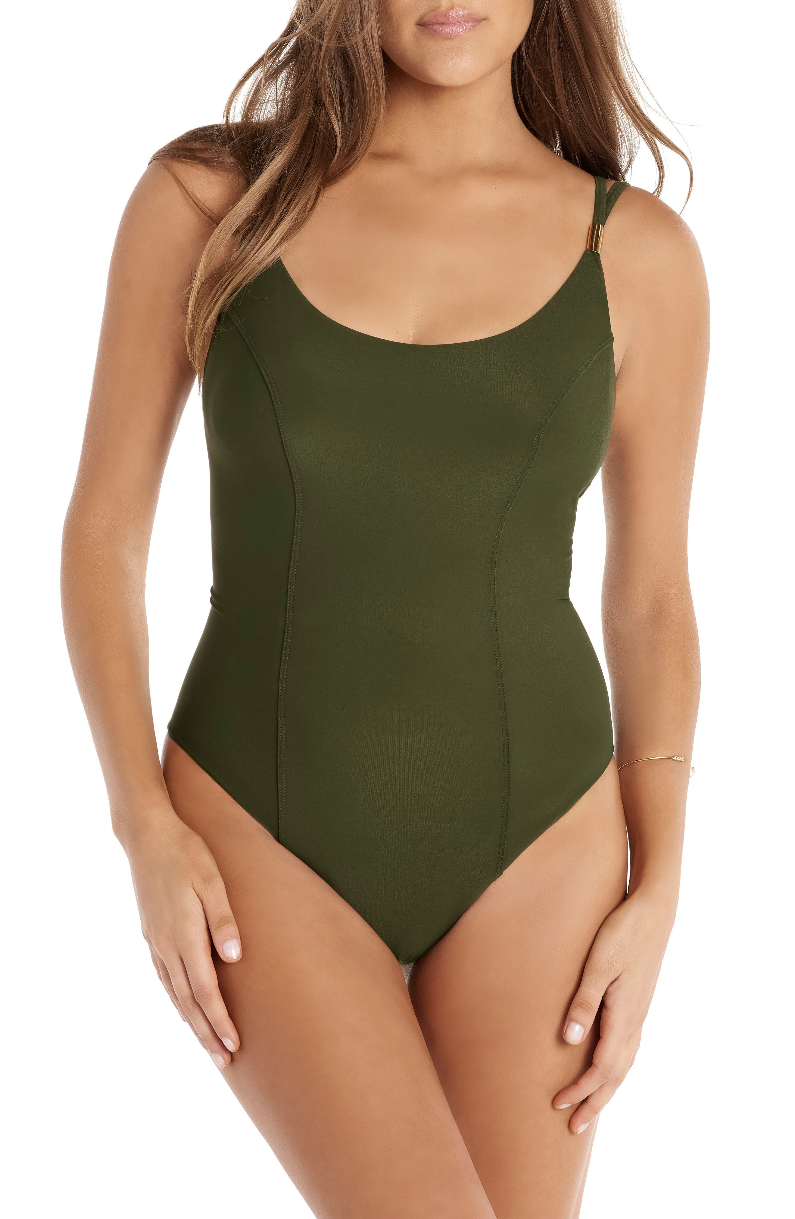Solid Diana One-Piece Swimsuit,                         Main,                         color, Olive