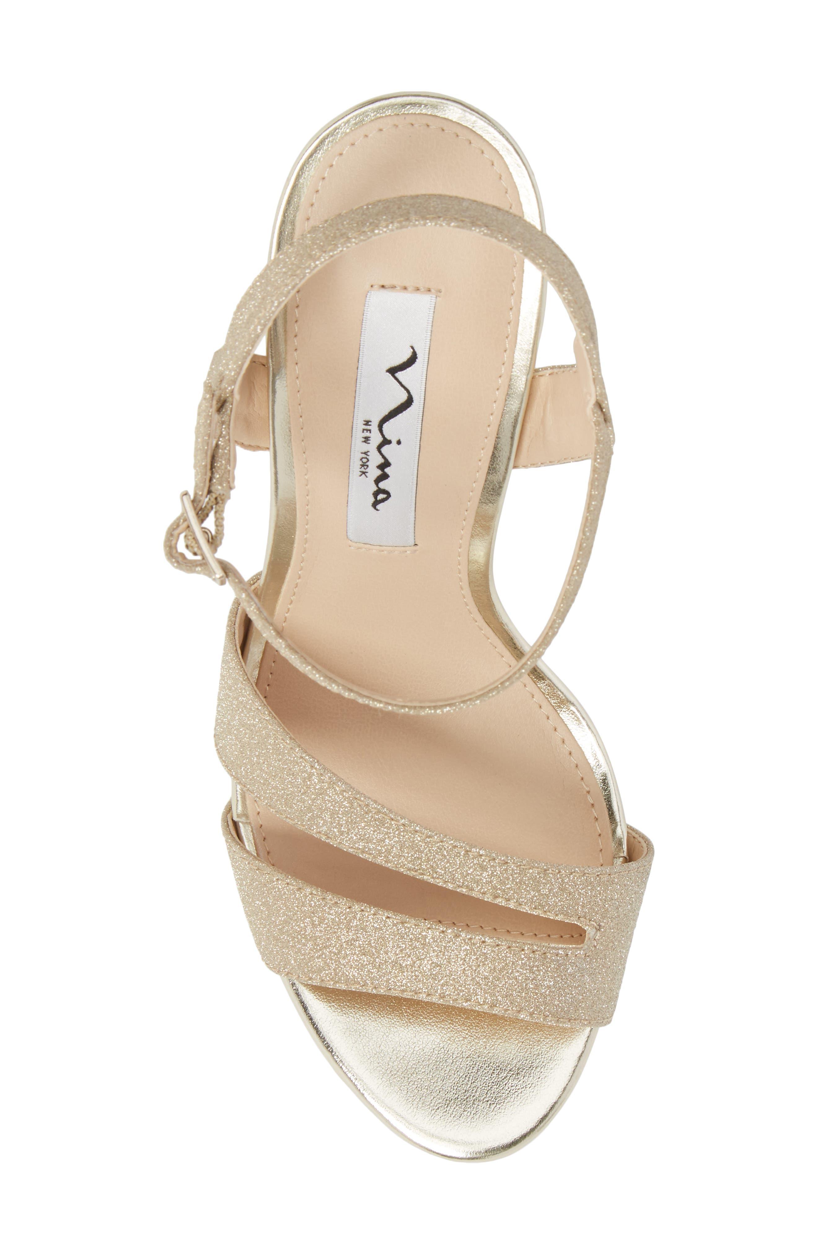 Silana Platform Sandal,                             Alternate thumbnail 5, color,                             Gold Glitter Fabric