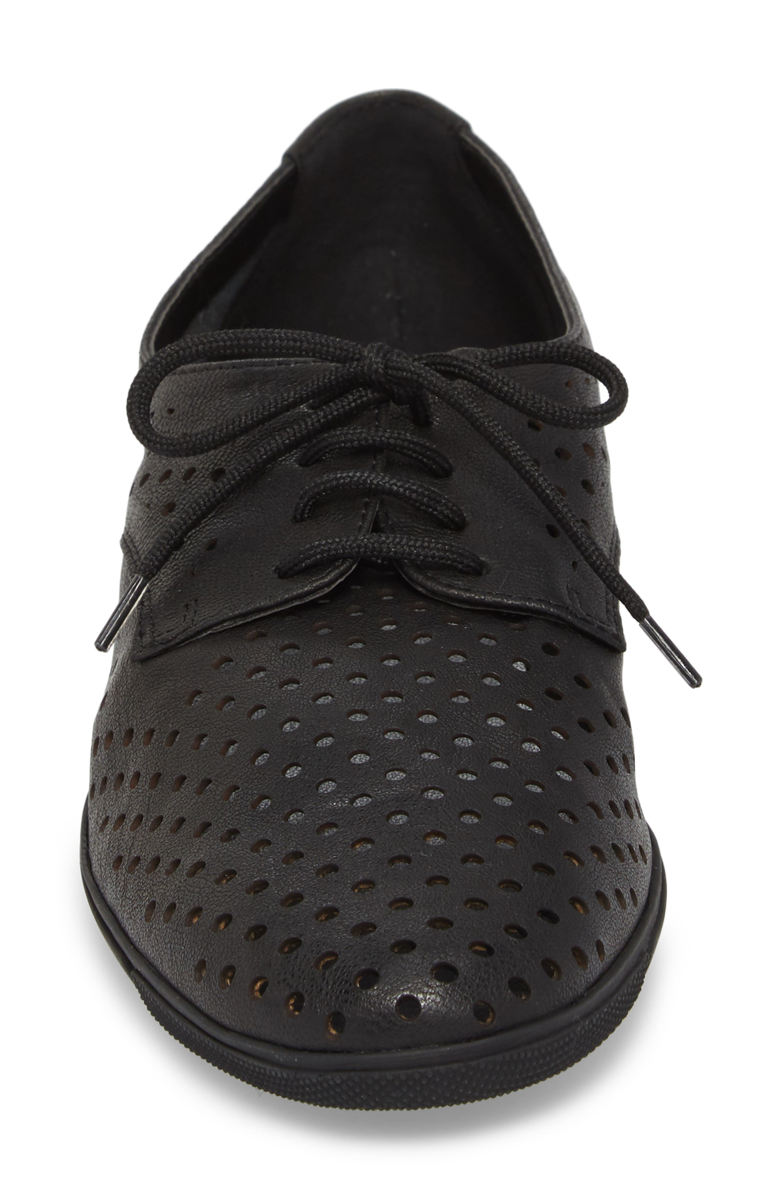 Dirce Perforated Oxford Flat,                             Alternate thumbnail 4, color,                             Black Leather