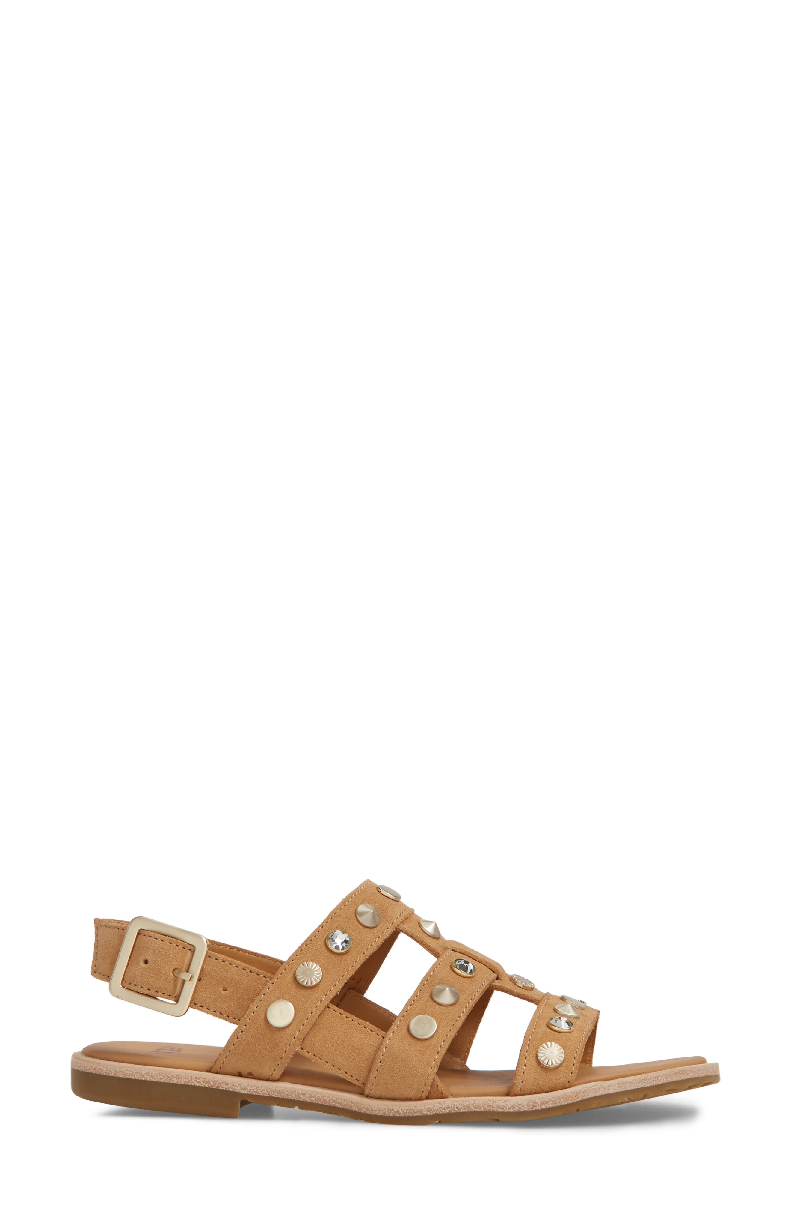 Zariah Studded Sandal,                             Alternate thumbnail 3, color,                             Latte Suede