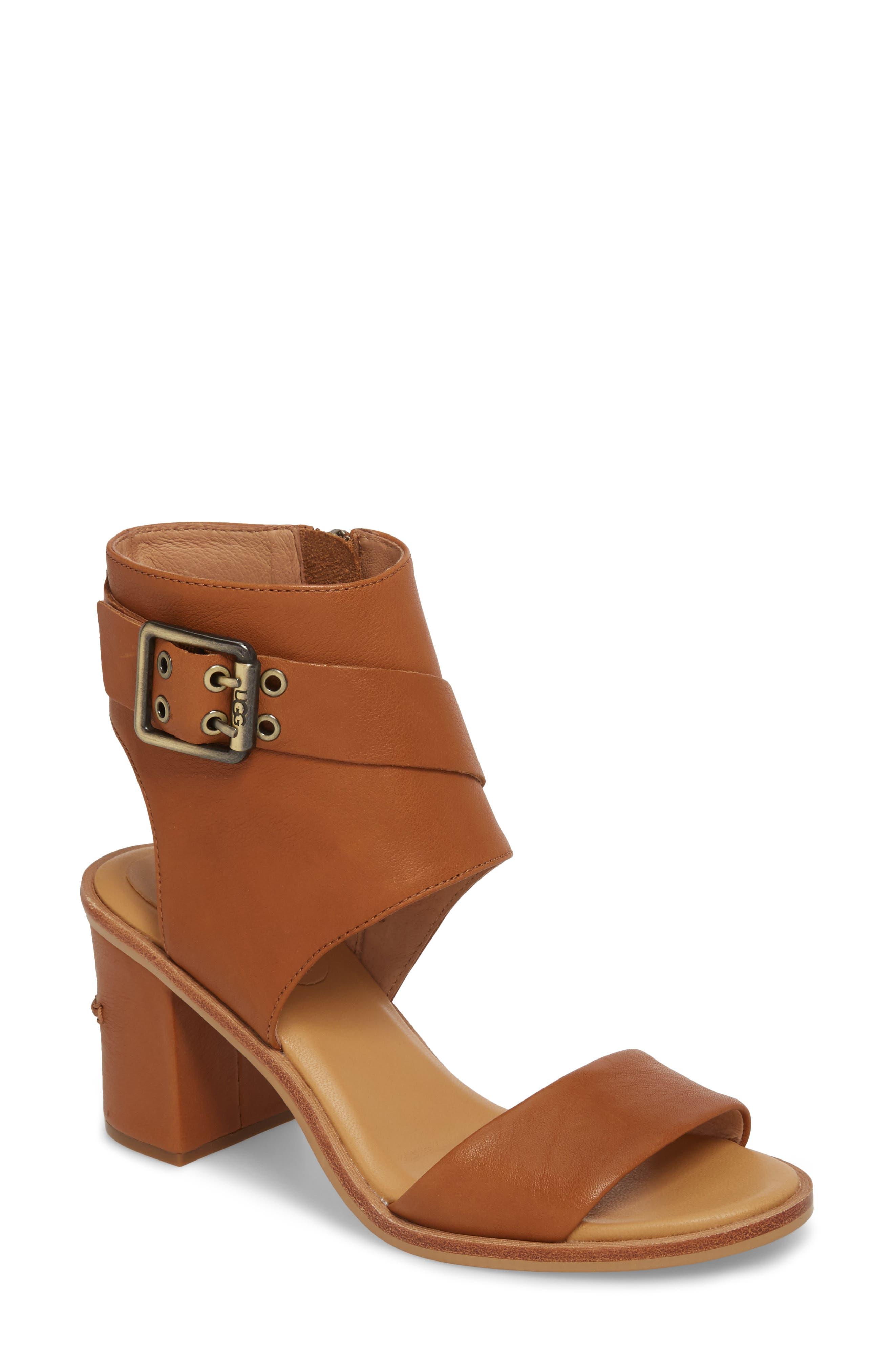 Claudette Cuff Sandal,                             Main thumbnail 1, color,                             Almond Leather