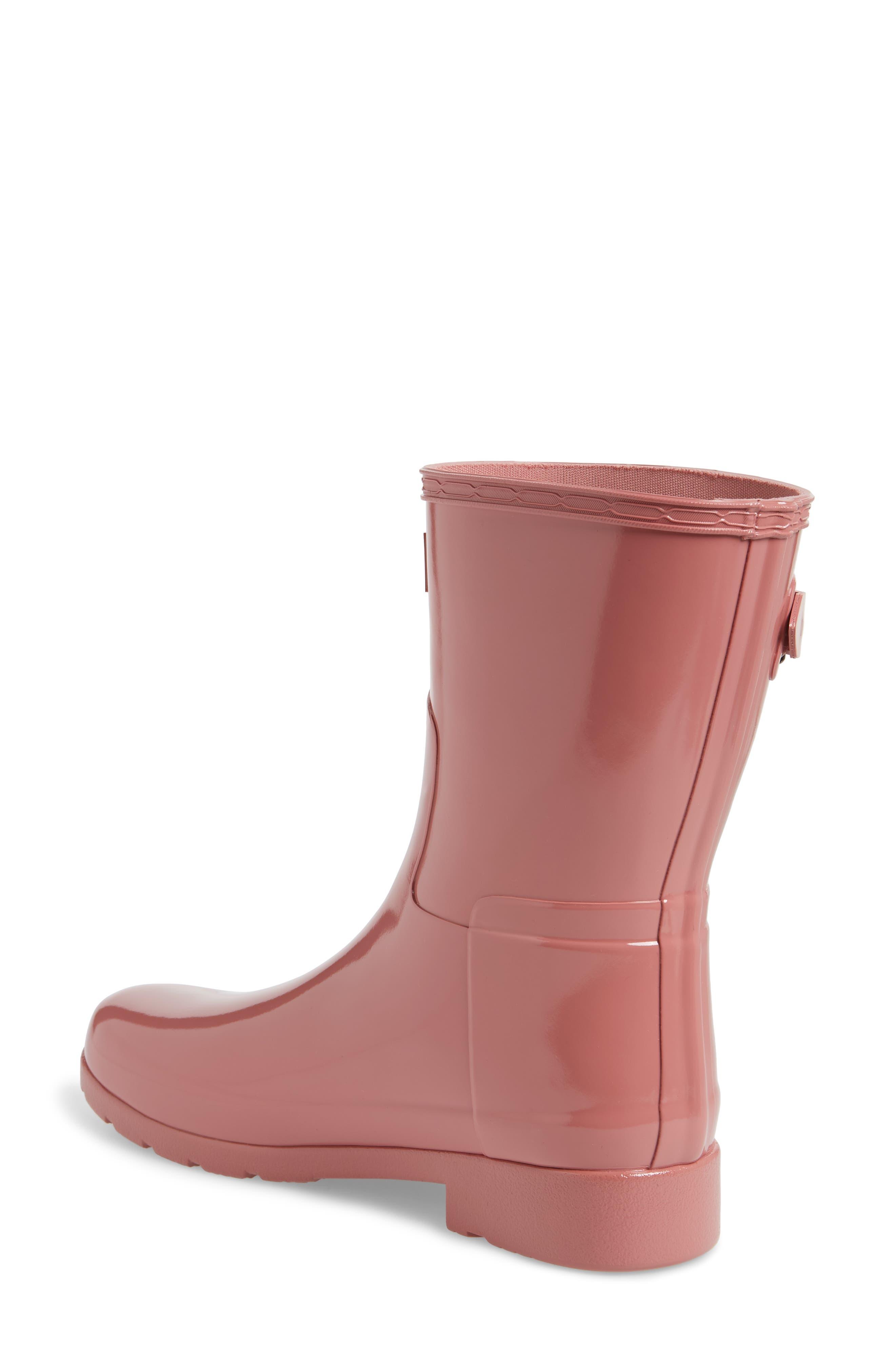 'Refined Short' Gloss Rain Boot,                             Alternate thumbnail 2, color,                             Pale Rose