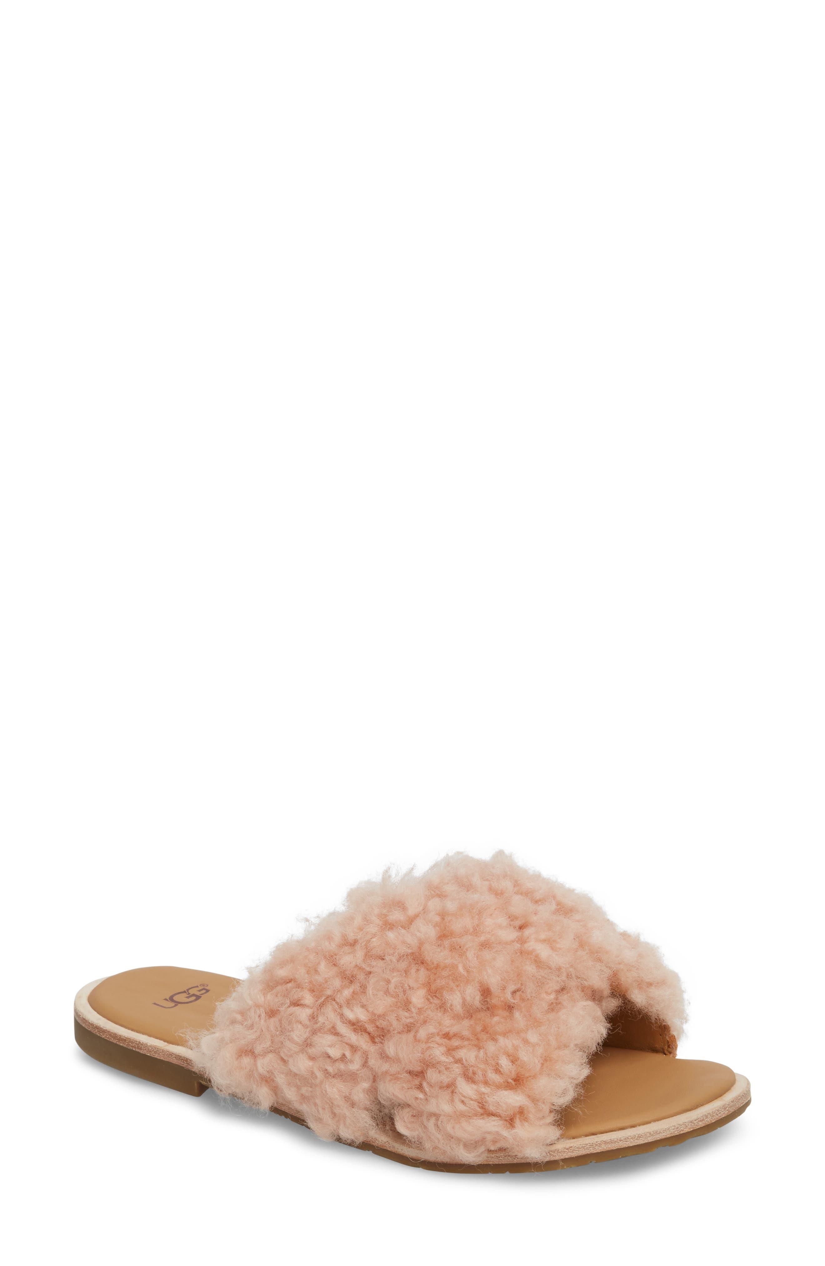 Joni Genuine Shearling Slide Sandal,                             Main thumbnail 1, color,                             Suntan