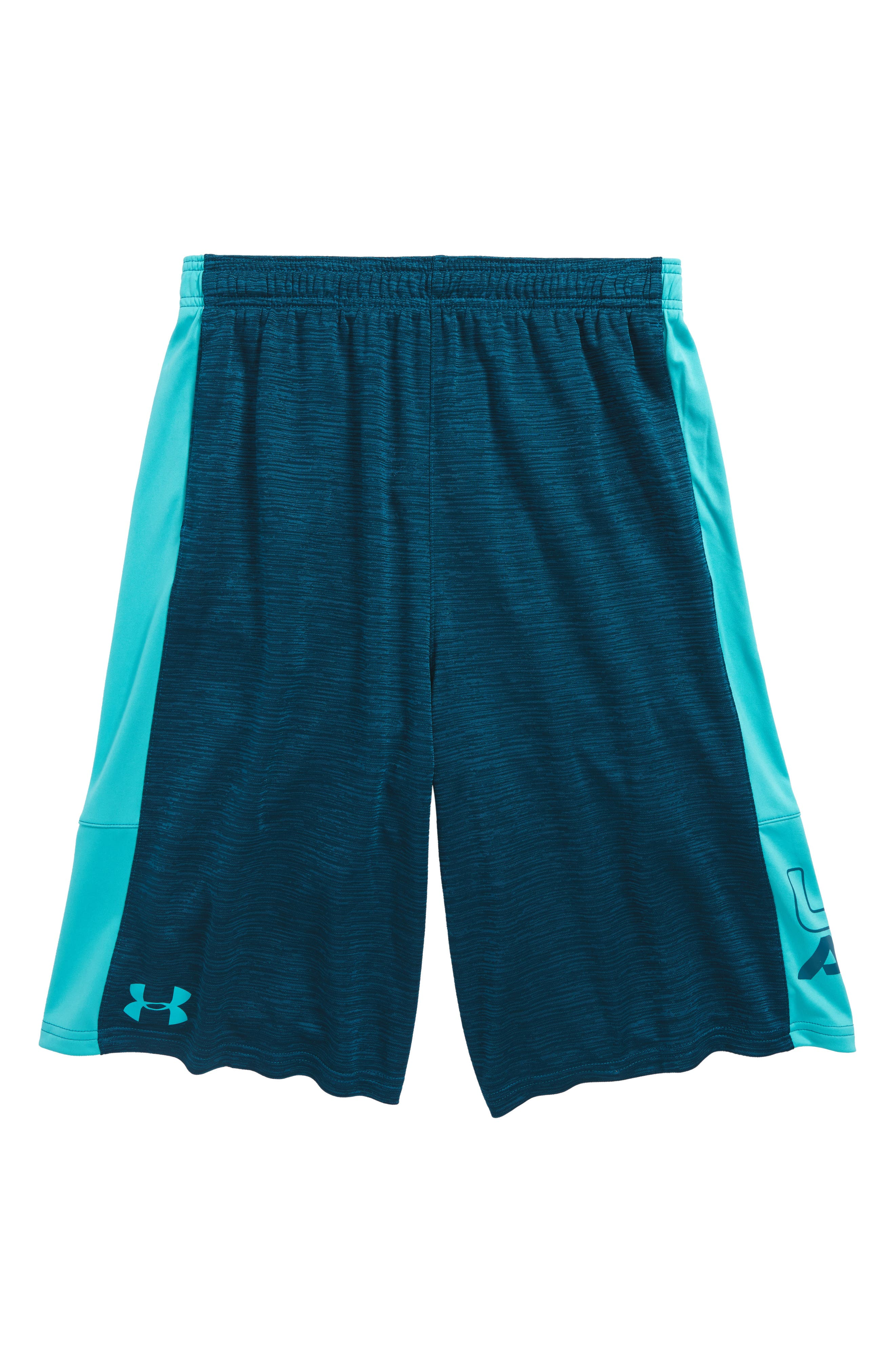 Stunt HeatGear<sup>®</sup> Shorts,                         Main,                         color, Troumaline Teal/ Teal Punch