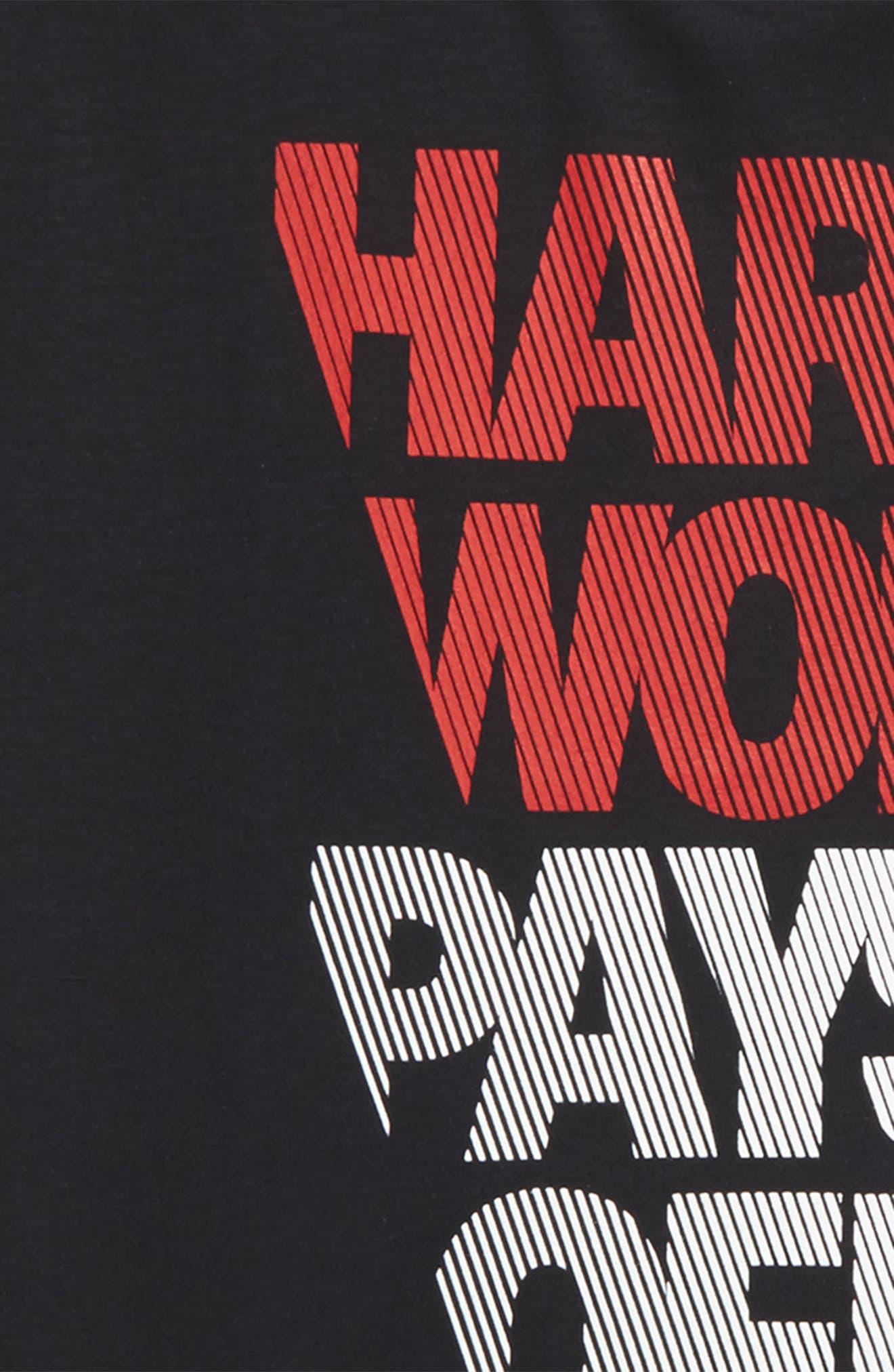 Hard Work HeatGear<sup>®</sup> Graphic T-Shirt,                             Alternate thumbnail 2, color,                             Black