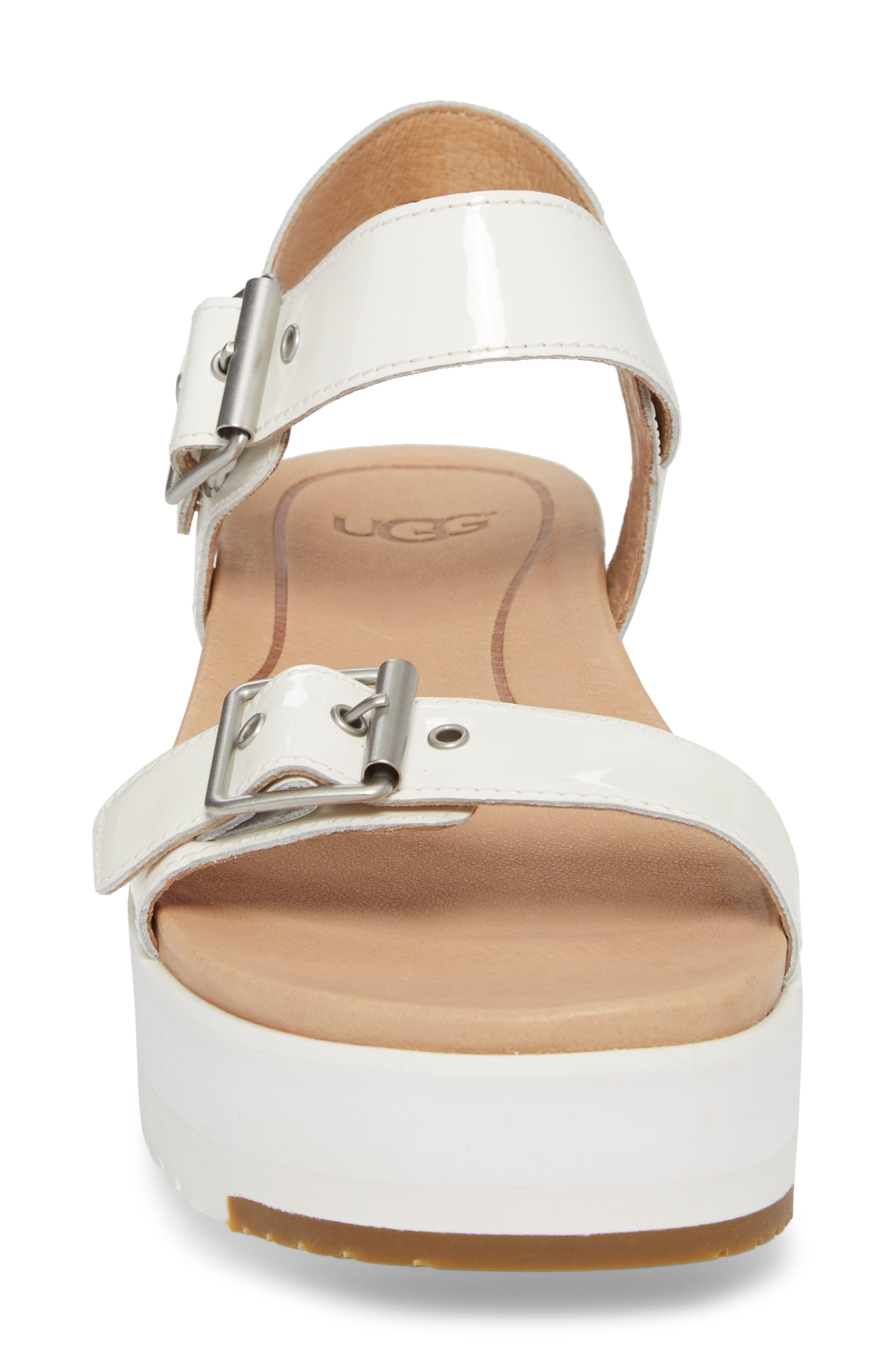 Angie Platform Sandal,                             Alternate thumbnail 4, color,                             White Leather