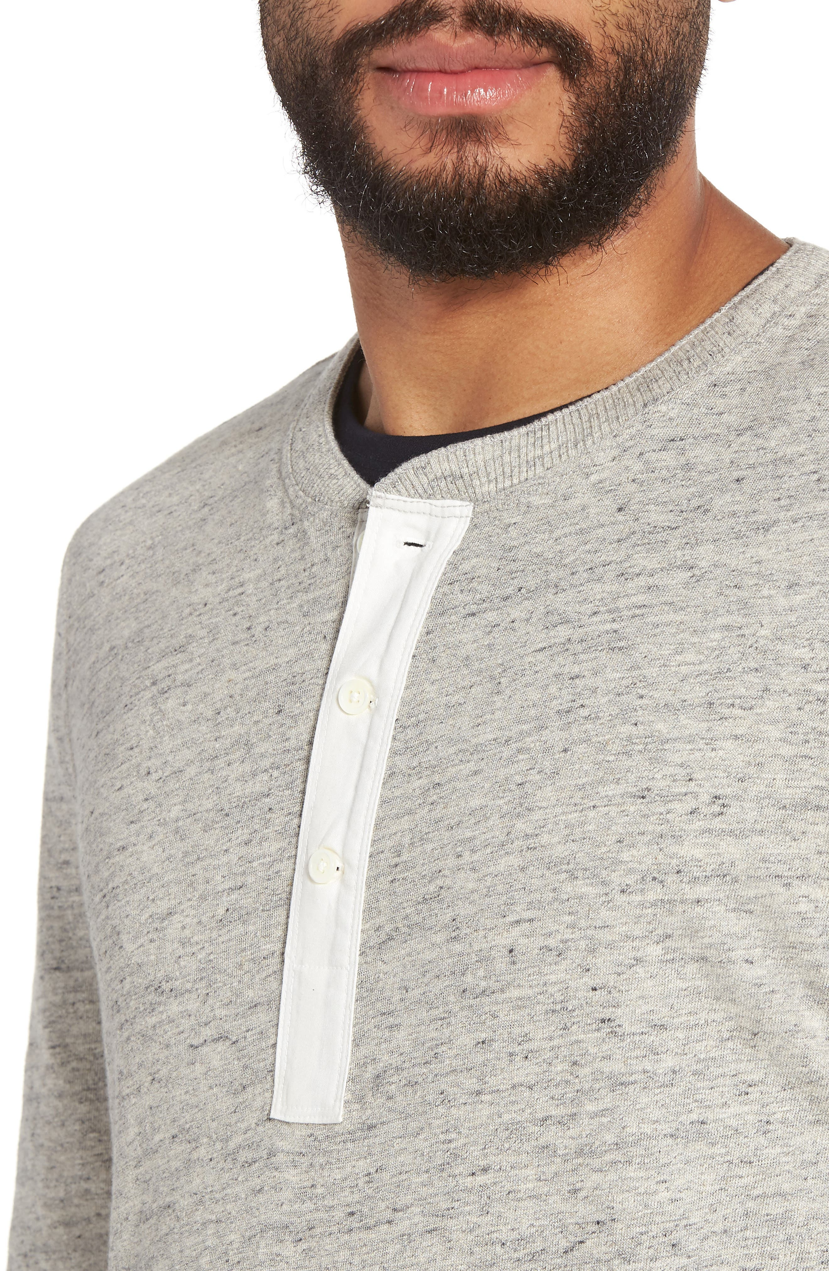 Military Slim Fit Henley,                             Alternate thumbnail 4, color,                             Grey