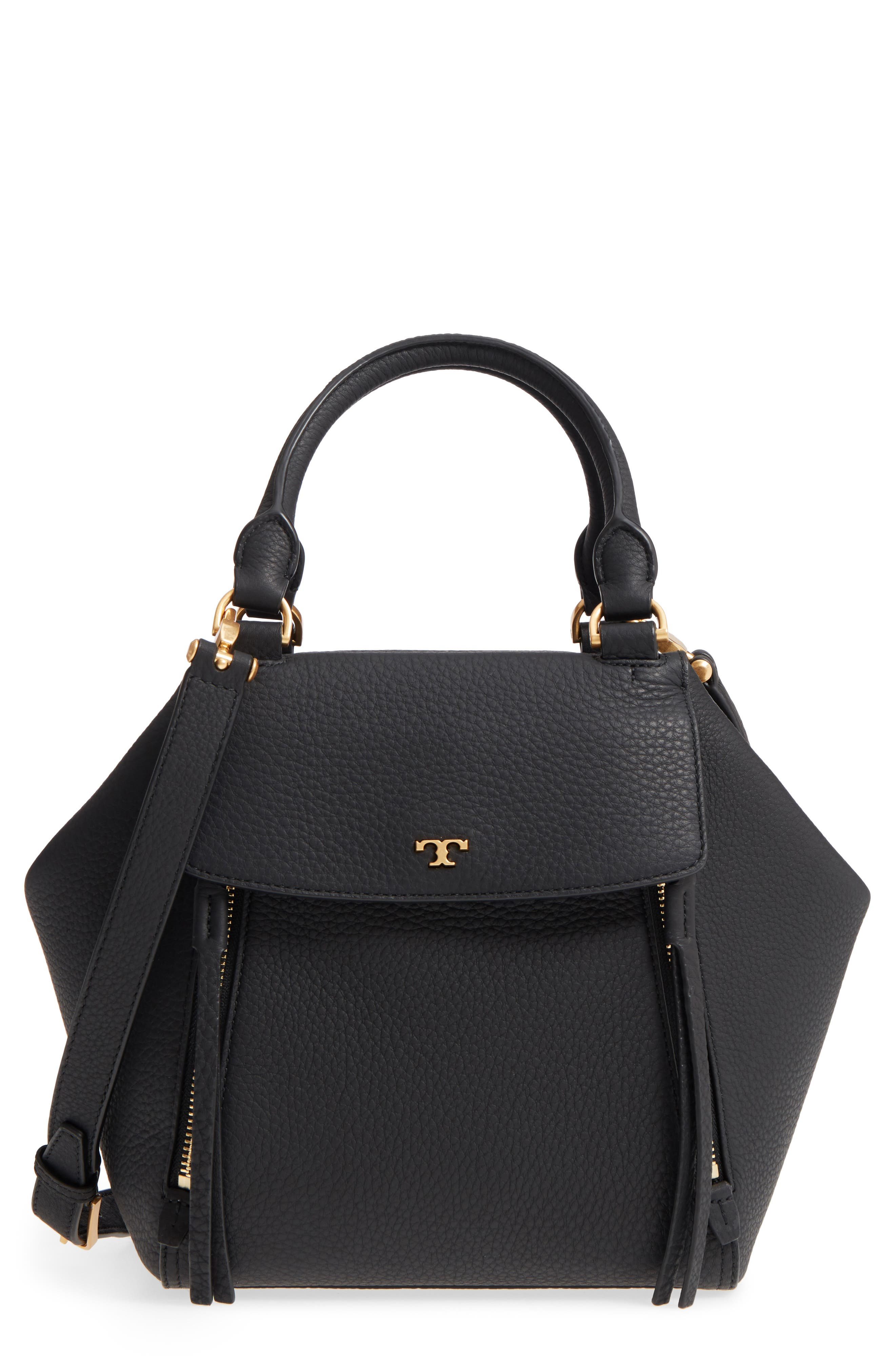 Half Moon Leather Satchel,                         Main,                         color, Black