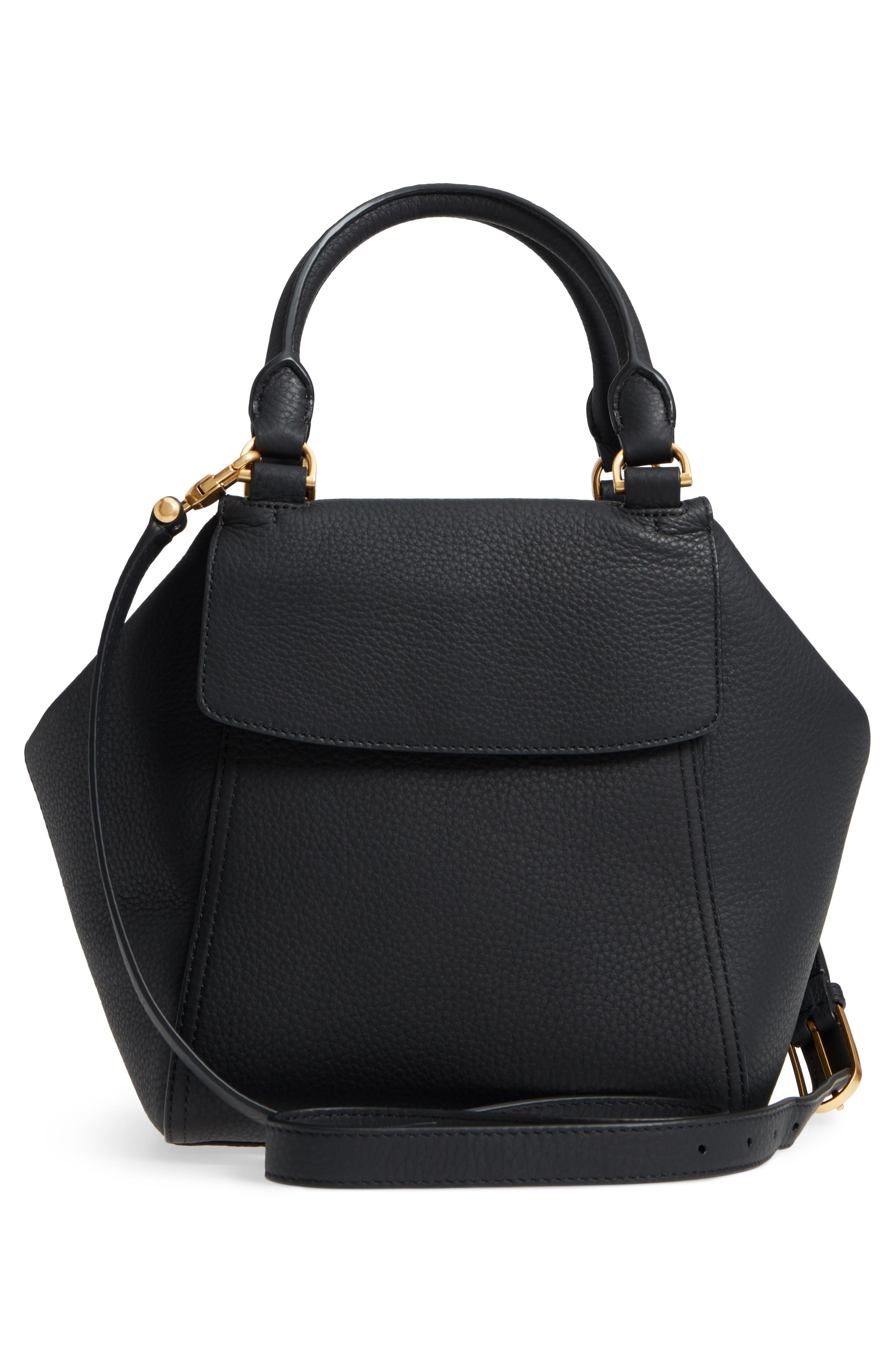 Half Moon Leather Satchel,                             Alternate thumbnail 3, color,                             Black